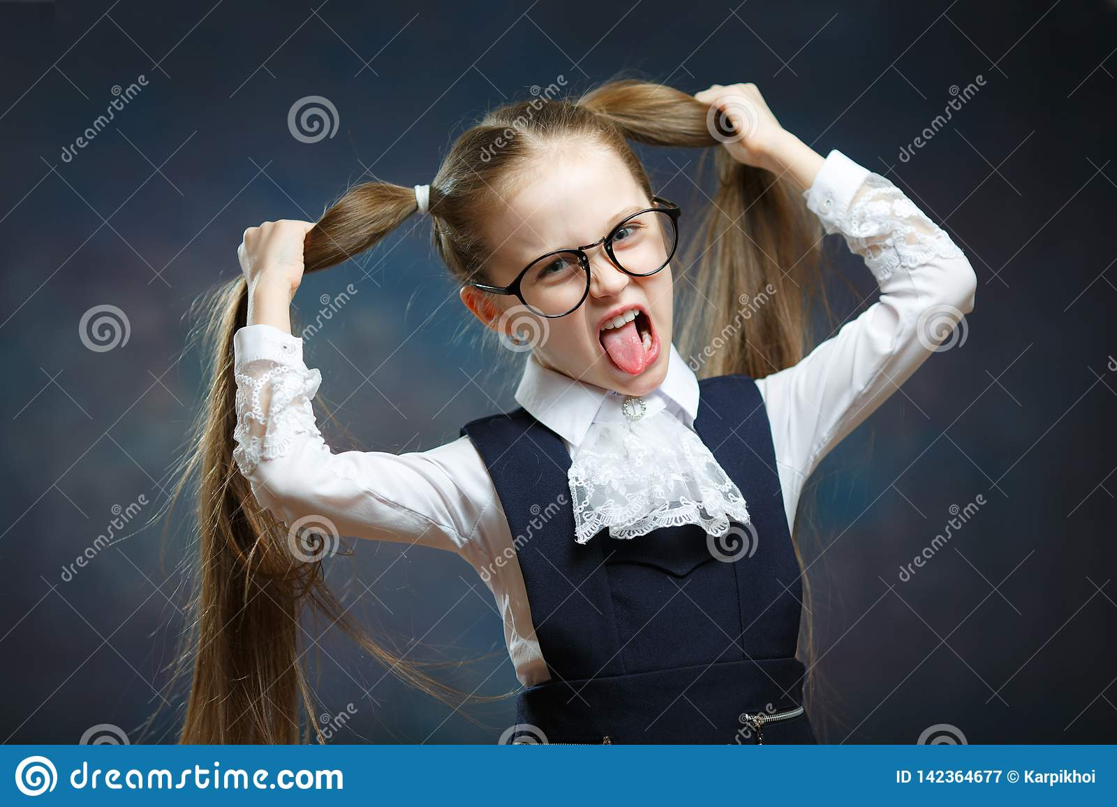 Schoolgirl Wear Uniform Glasses Play Ape Portrait