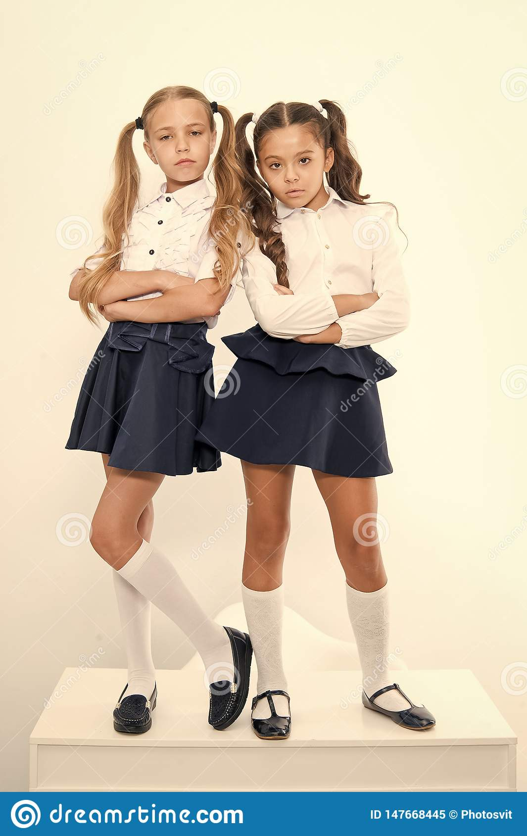 Schoolgirls Haughty Arrogant With Ponytails Hairstyle Best Friends Excellent Pupils Perfect Schoolgirls Tidy Fancy Stock Image Image Of List Fashion 147668445