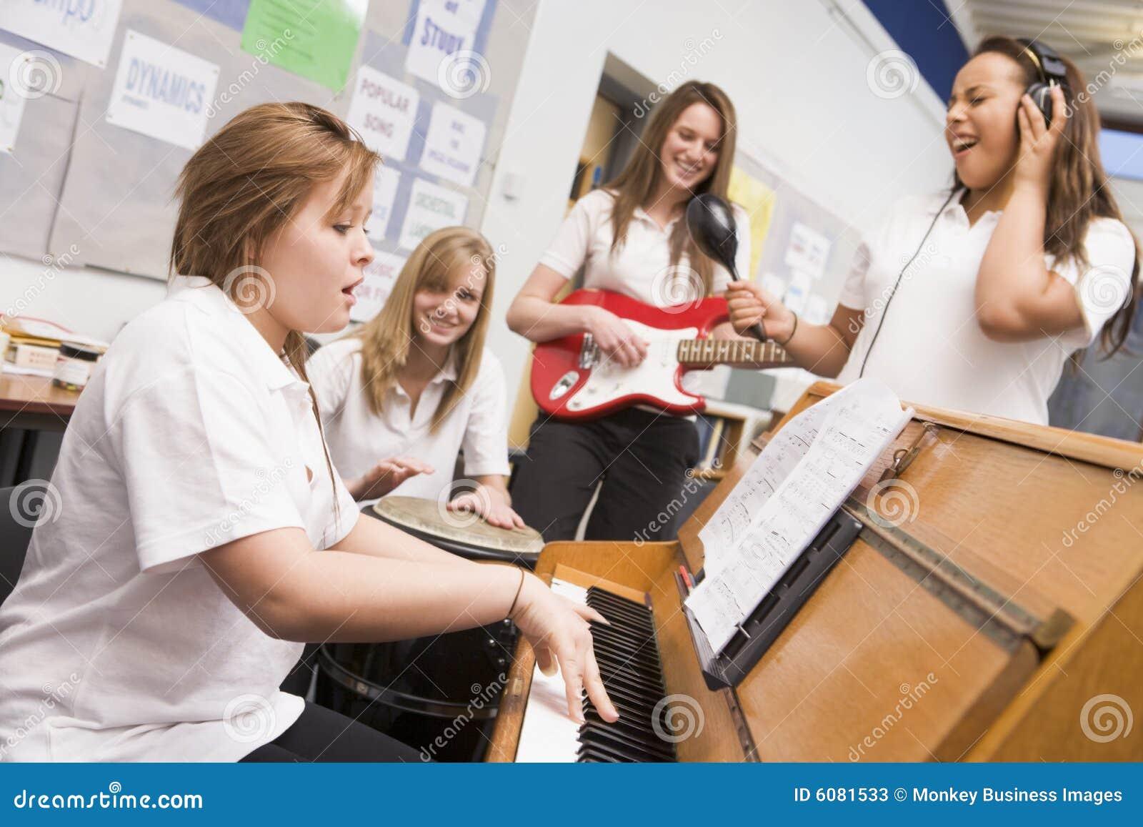 Schoolgirls playing musical instruments