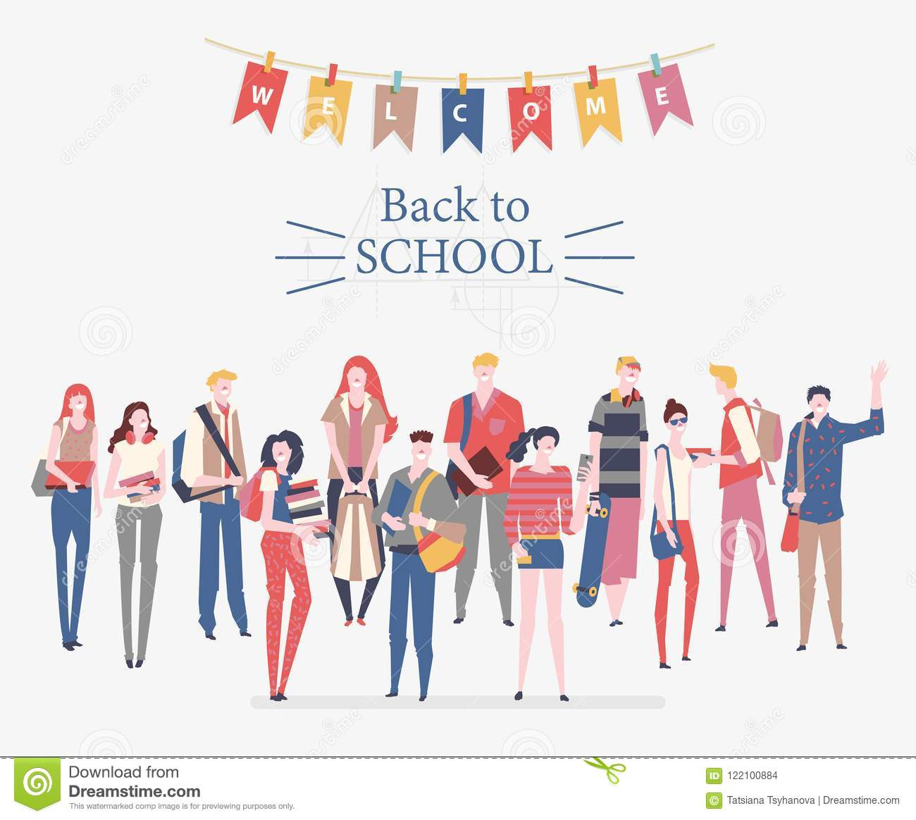Schoolgirls, schoolboys with books, backpacks and school bags. Back to school vector poster in flat style. Happy and smiling te