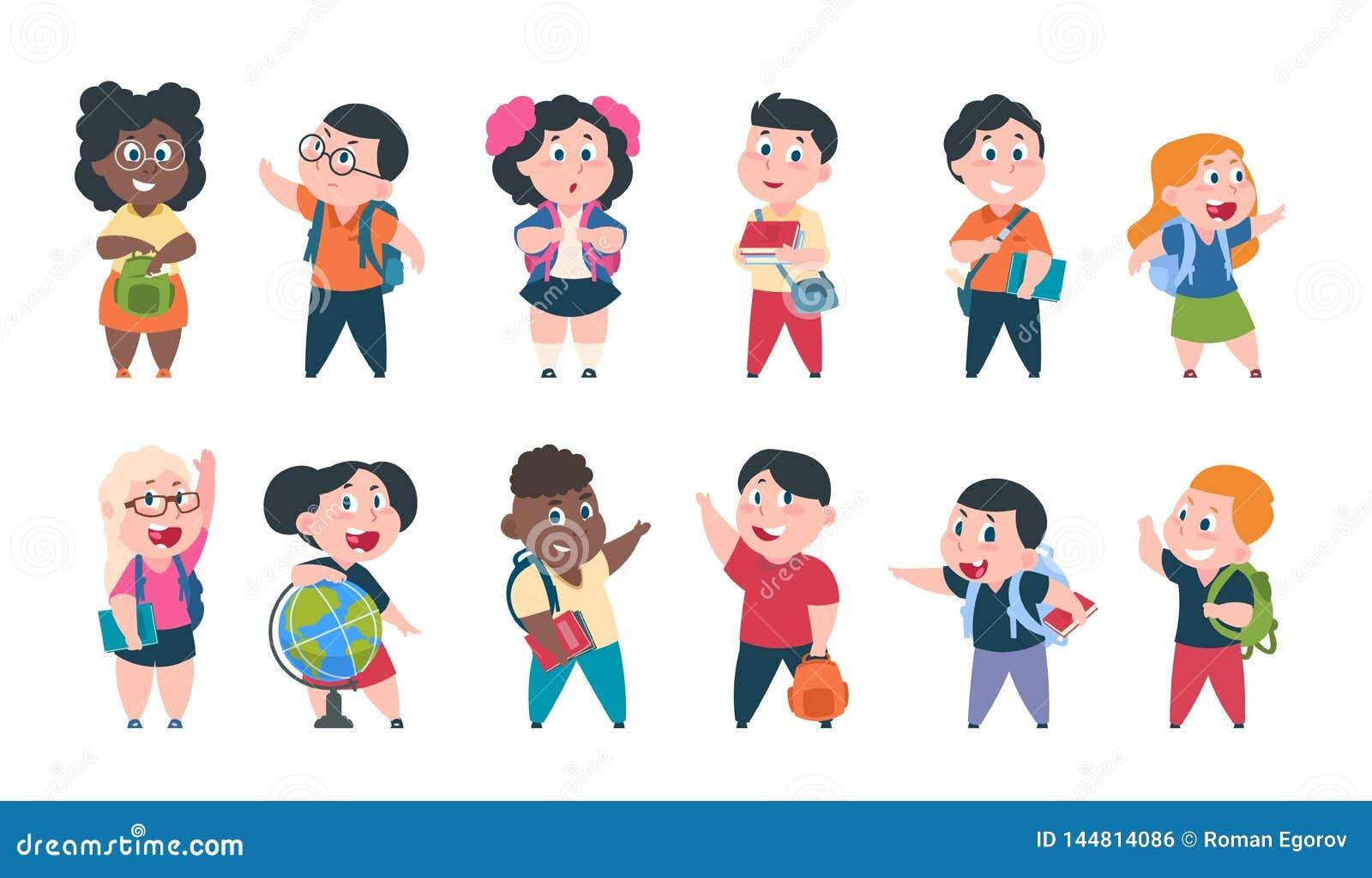 Schooljonge geitjes Beeldverhaalkinderen met boeken en schoollevering, de gelukkige leuke jongens en karakters van meisjesleerlin
