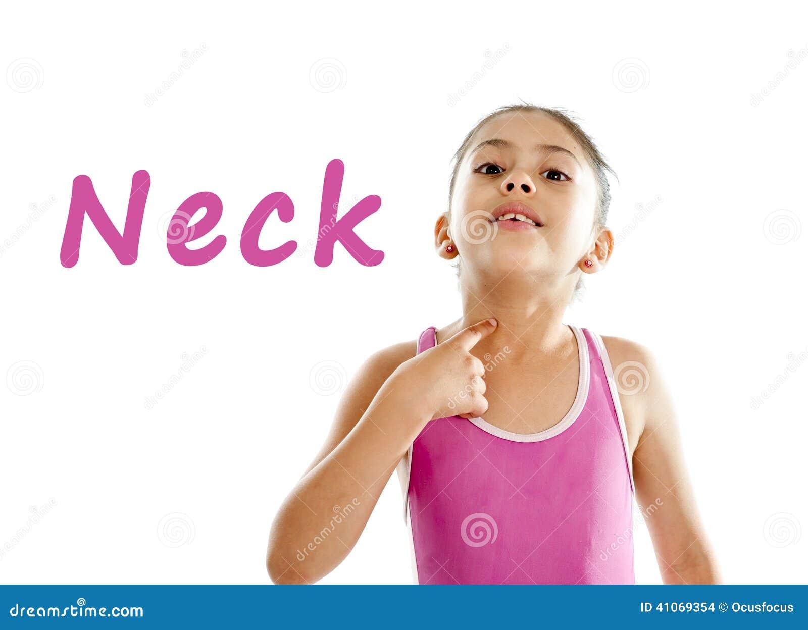 Schoolkaart van meisje het richten op haar hals en keel op witte achtergrond stock foto - Slaapkamer fotos van het meisje ...