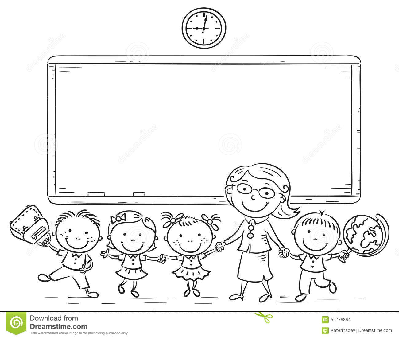 Schoolkids And Teacher At The Blackboard Stock Vector ...