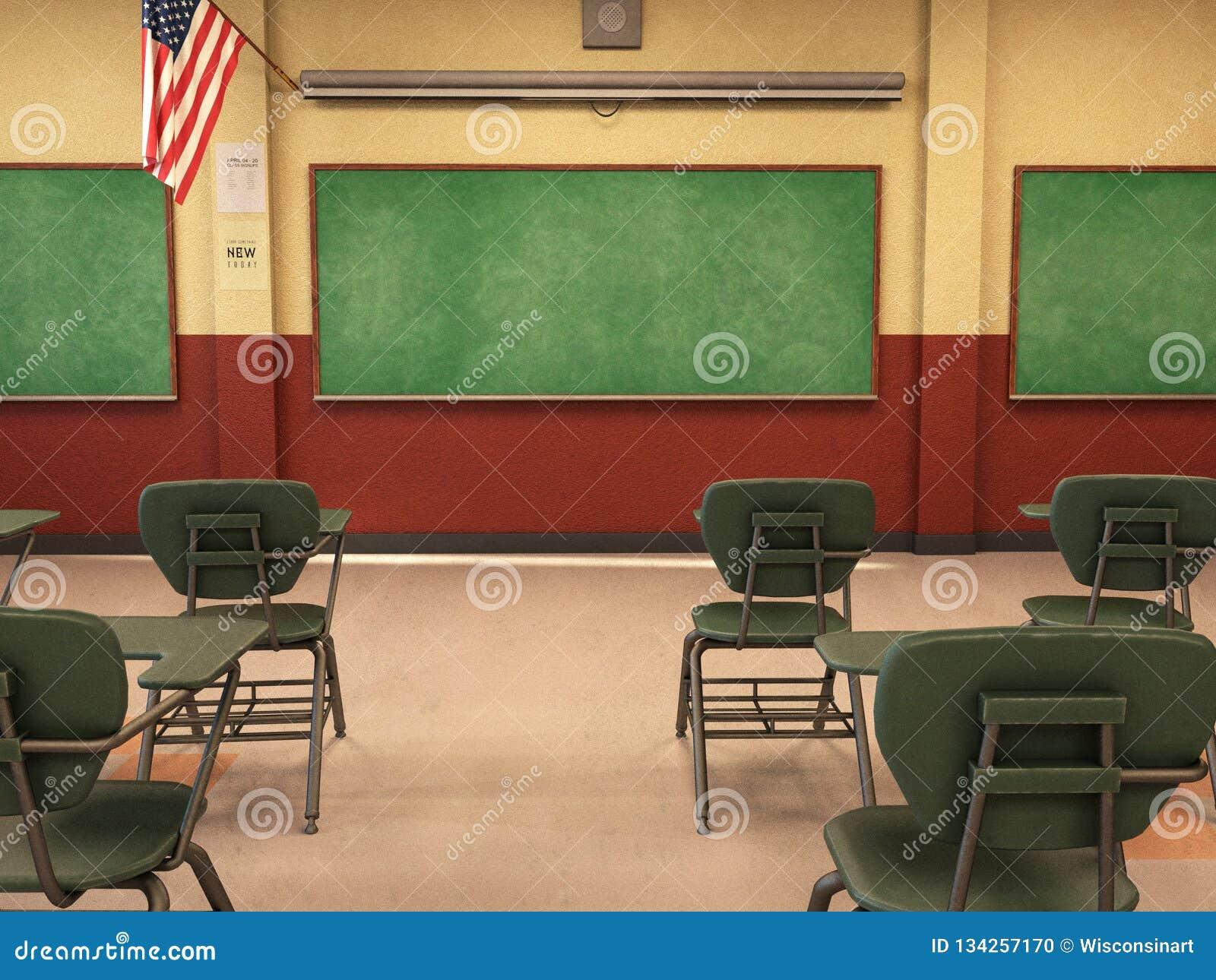 Schoolklaslokaal, Bord, Bureaus, Onderwijs