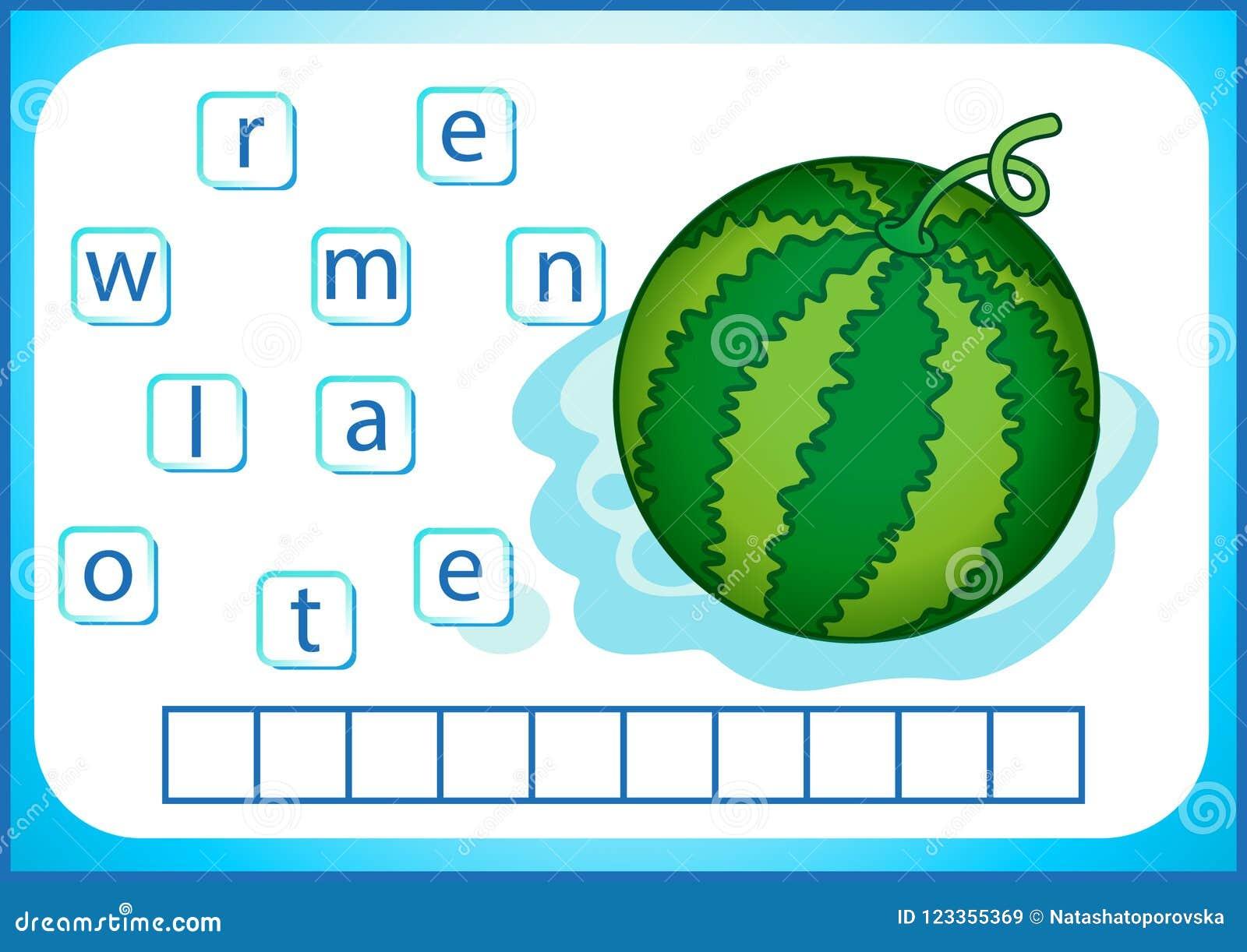 Schoolonderwijs Engelse flashcard voor het leren van het Engels Wij schrijven de namen van groenten en vruchten De woorden is een