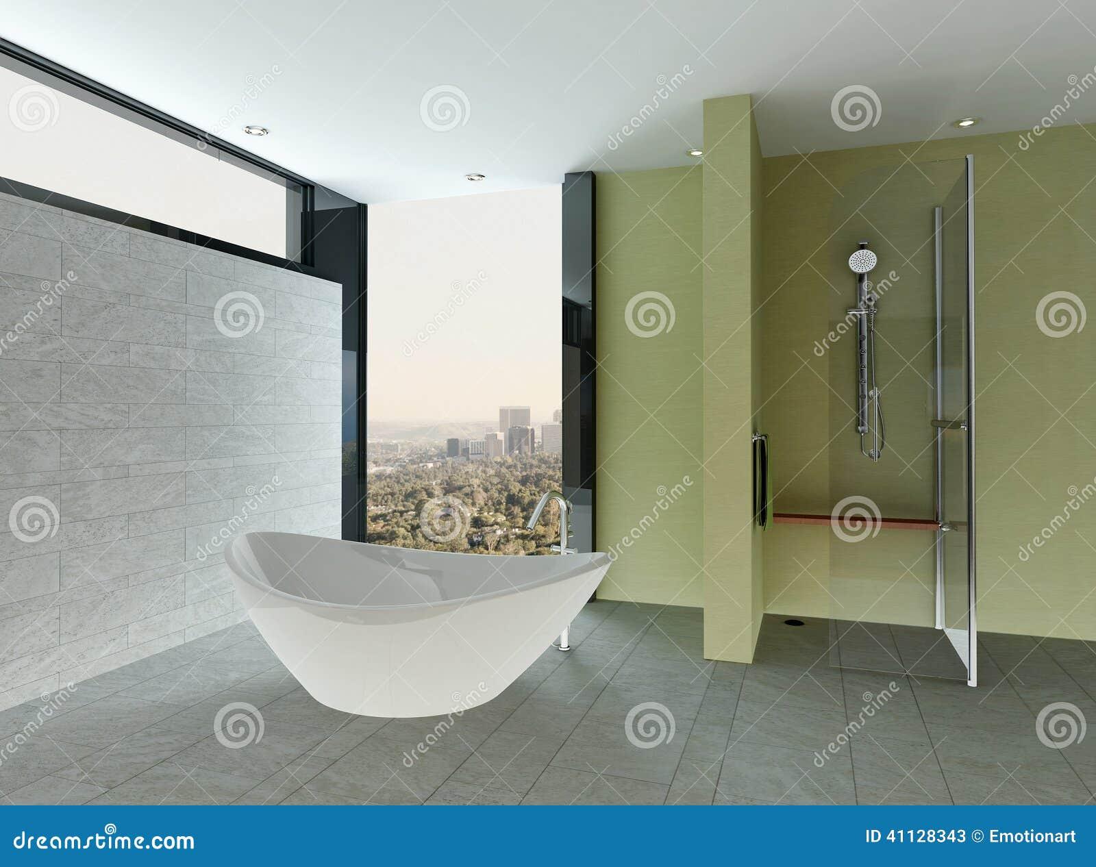 Schoon badkamersbinnenland met betegelde muur en vloer en badkuip