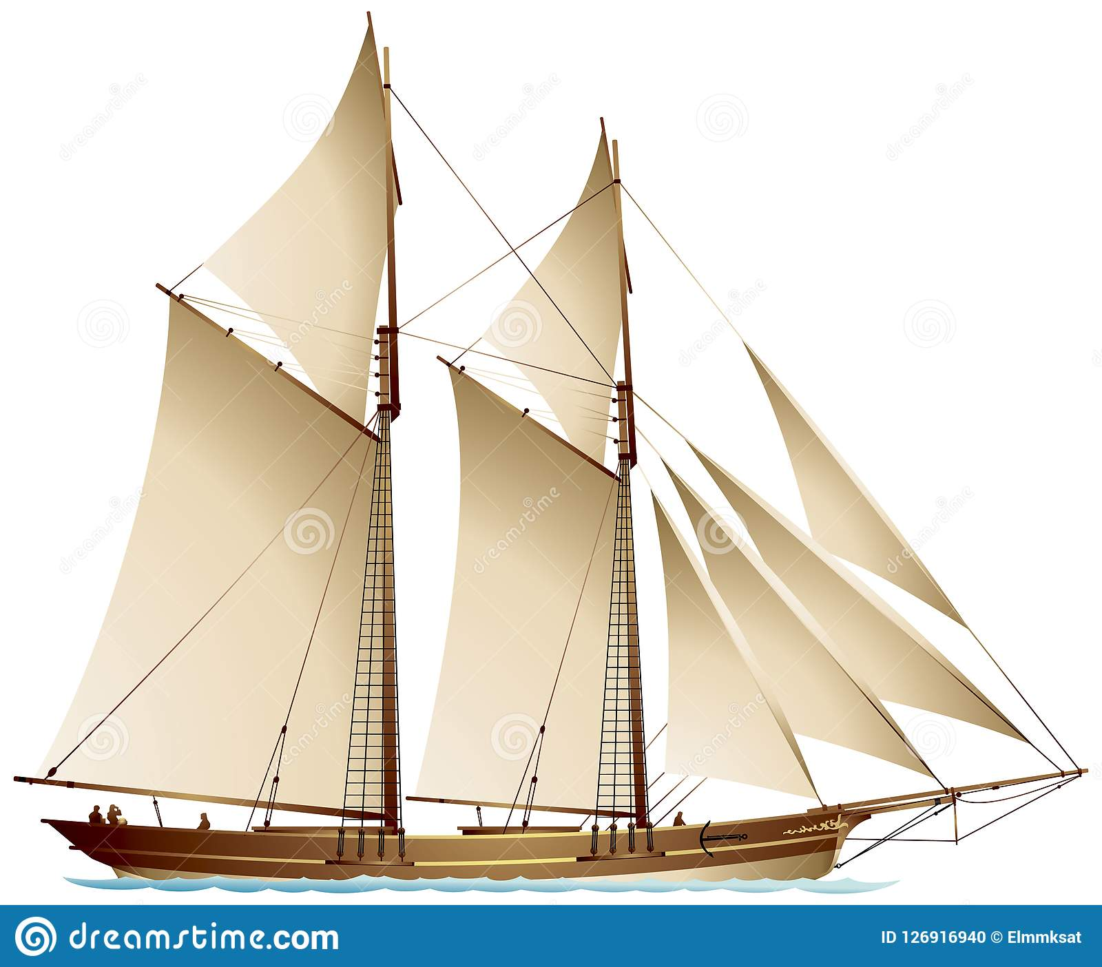 schooner gaff rigged sailing vessel stock vector illustration of
