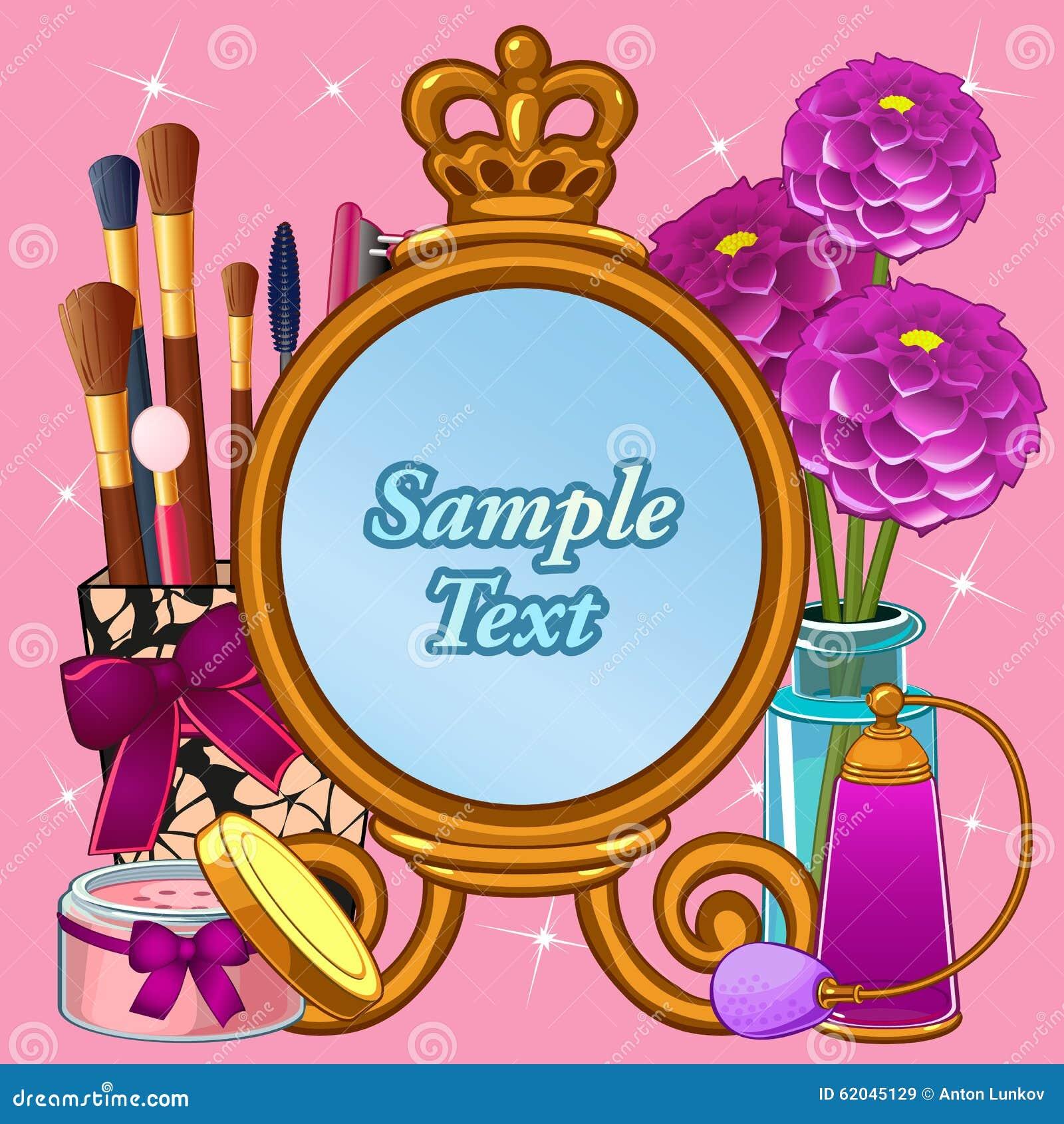 Schoonheidsmiddel met spiegel en ruimte voor tekst wordt geplaatst die