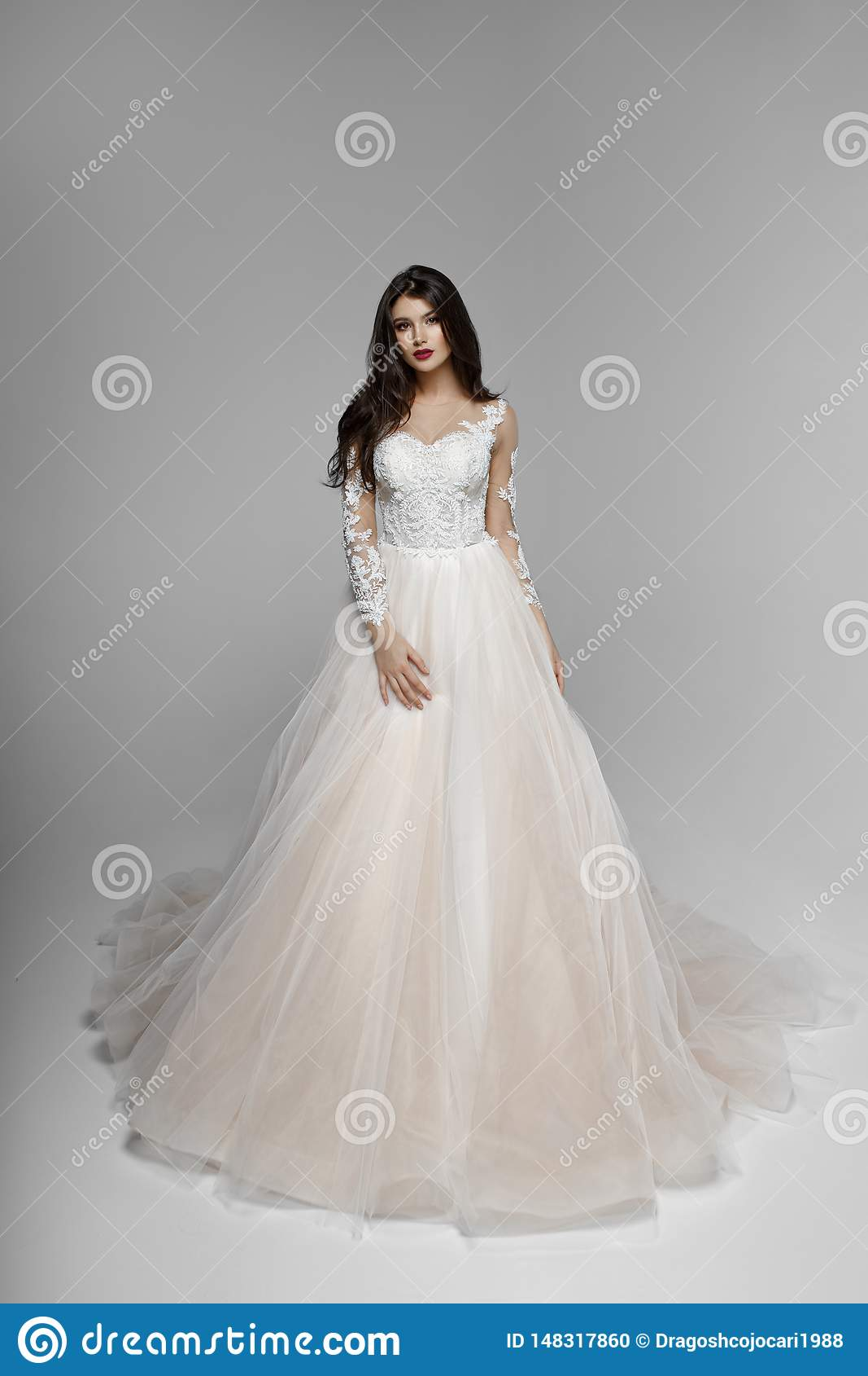 Schoonheidsportret van bruid in huwelijkskleding met samenstelling en kapsel, studio De ruimte van het exemplaar