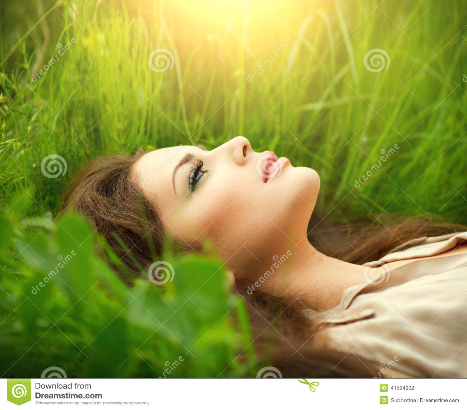 Schoonheidsvrouw die op het gebied en het dromen liggen