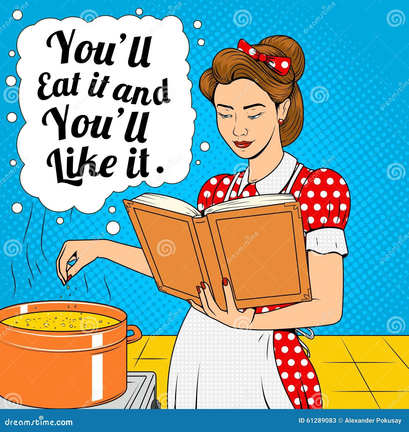 Schoonheidsvrouw het koken soep retro vector vector illustratie afbeelding 61289083 - Koken afbeelding ...