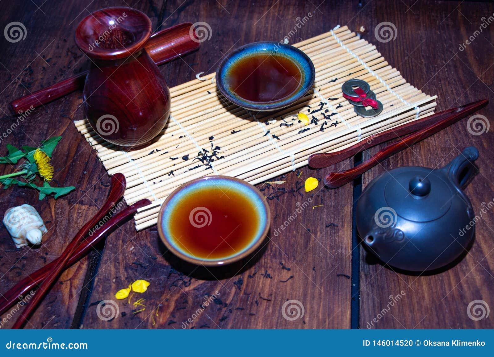 Schotels voor de Chinese theeceremonie