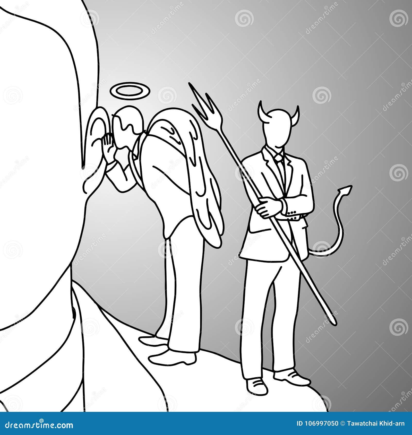Schouderduivel en hand van de de krabbelschets van de engelen de vectorillustratie