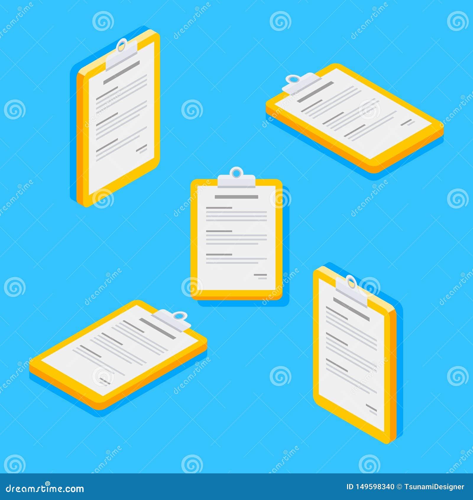 Schowek, dokument, Isometric, Płaska ikona,