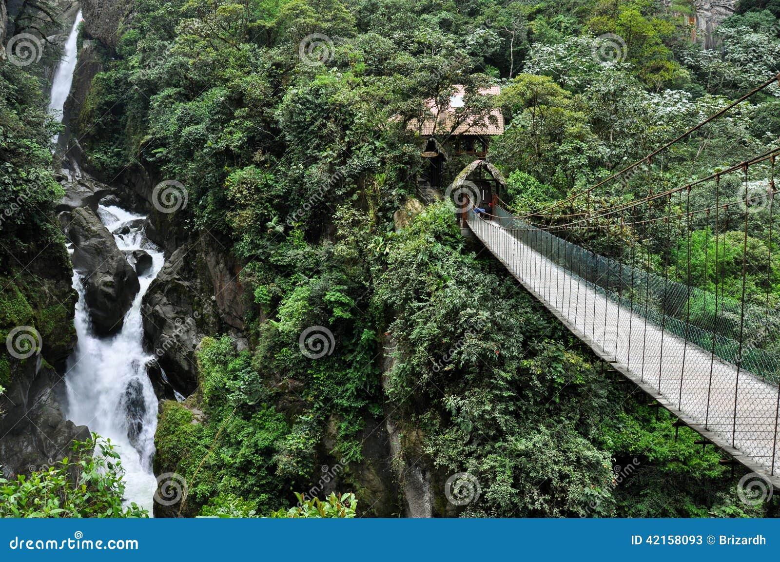 Schrägseilbrücke in Banos Santa Agua, Ecuador