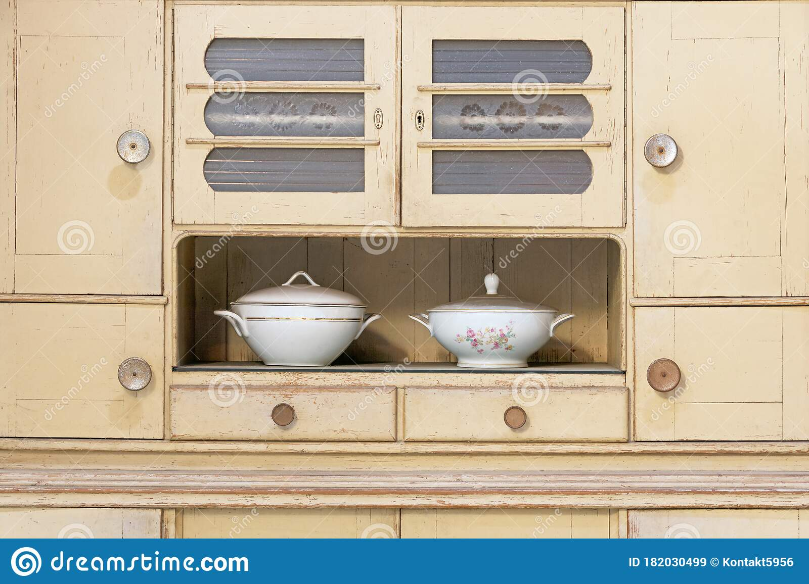 An Old Kitchen Buffet In Vintage Style Stock Image Image Of Rustic Retro 182030499