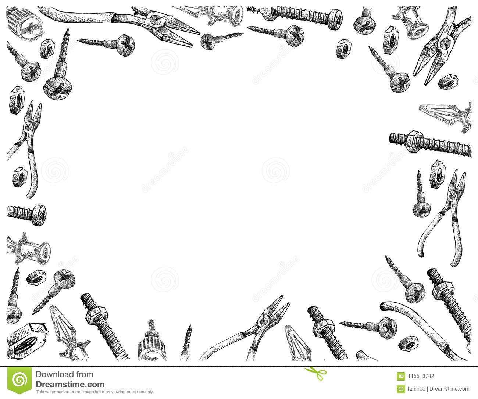Schraube, Leiterplatte-Anker und Zangen auf weißem Hintergrund