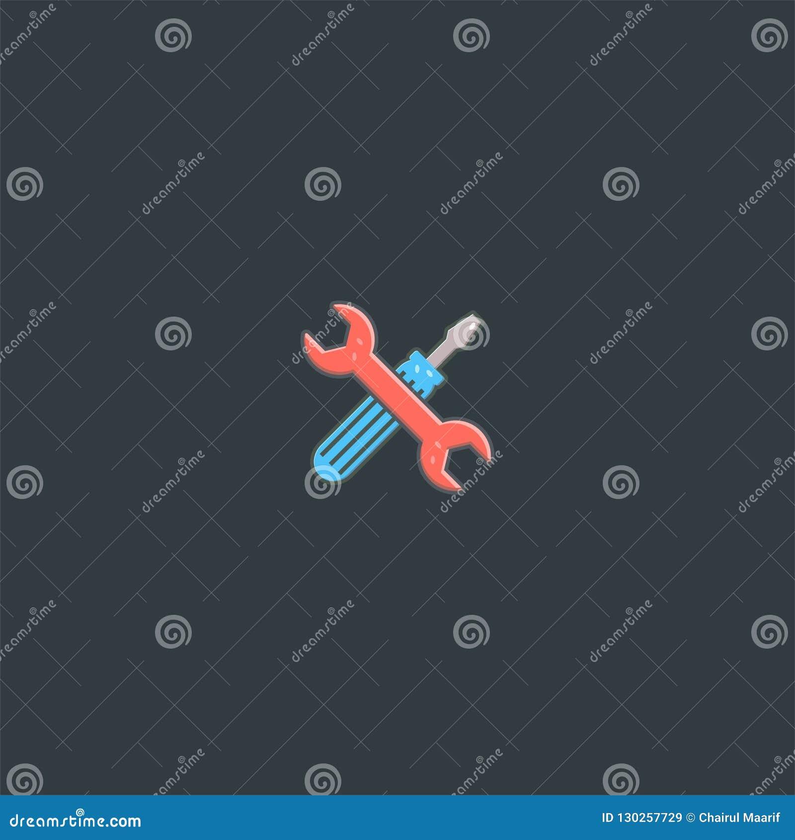 Schraubenzieher- und Werkzeuglogoentwurf Symboldan-Ikonenvektorschablone
