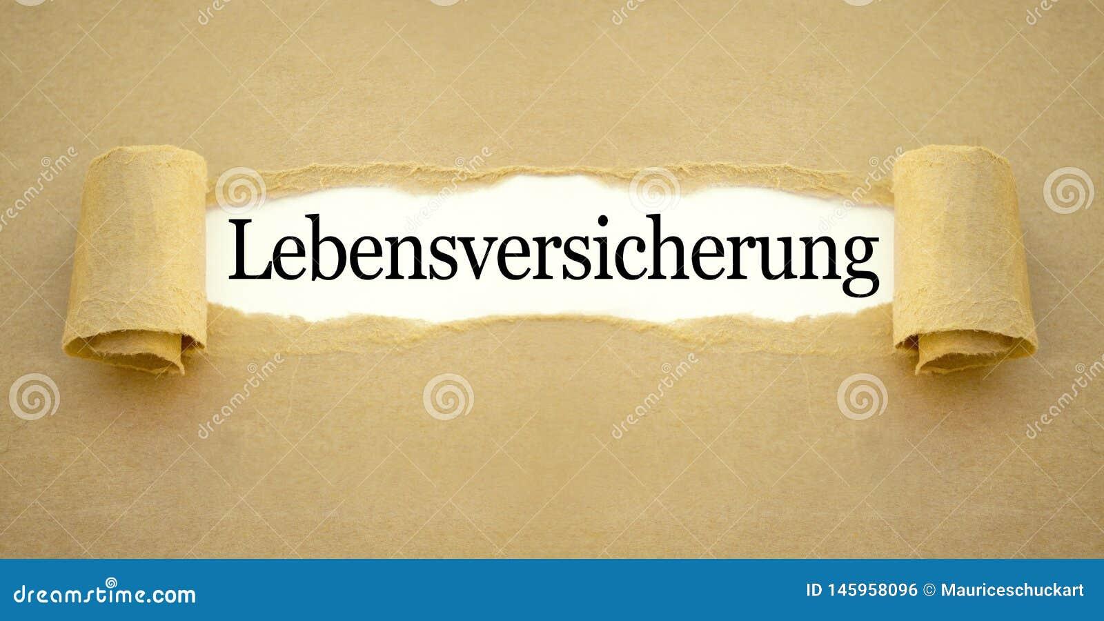 Schreibarbeit mit dem deutschen Wort für Lebensversicherungspolice - Lebensversicherung