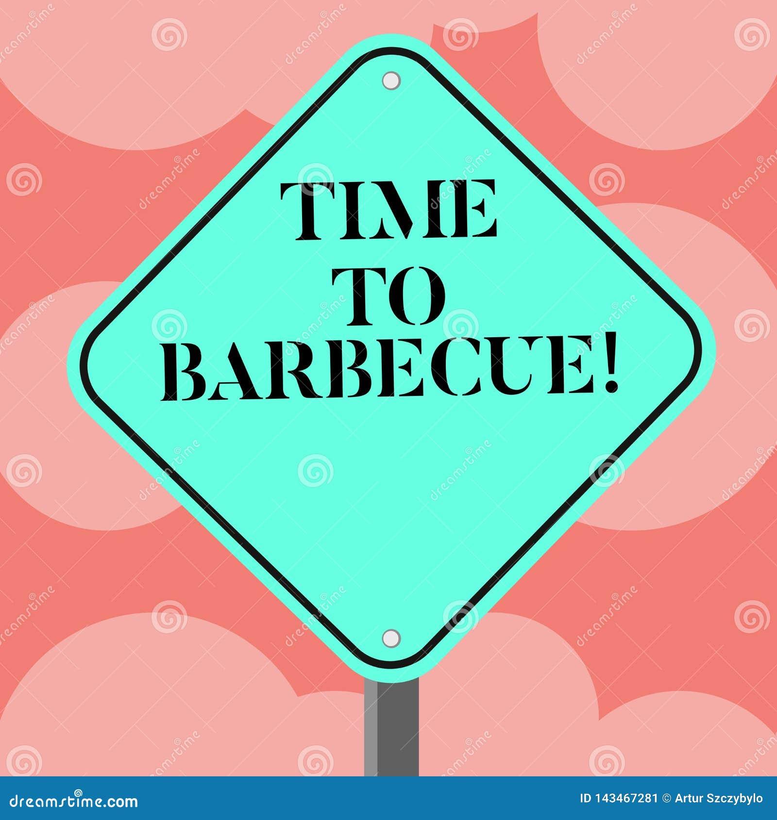 Schreiben der Anmerkung, die Zeit zeigt zu grillen Geschäftsfoto Präsentationsentspannung, Fleischhühnerschweinefleisch auf Grill