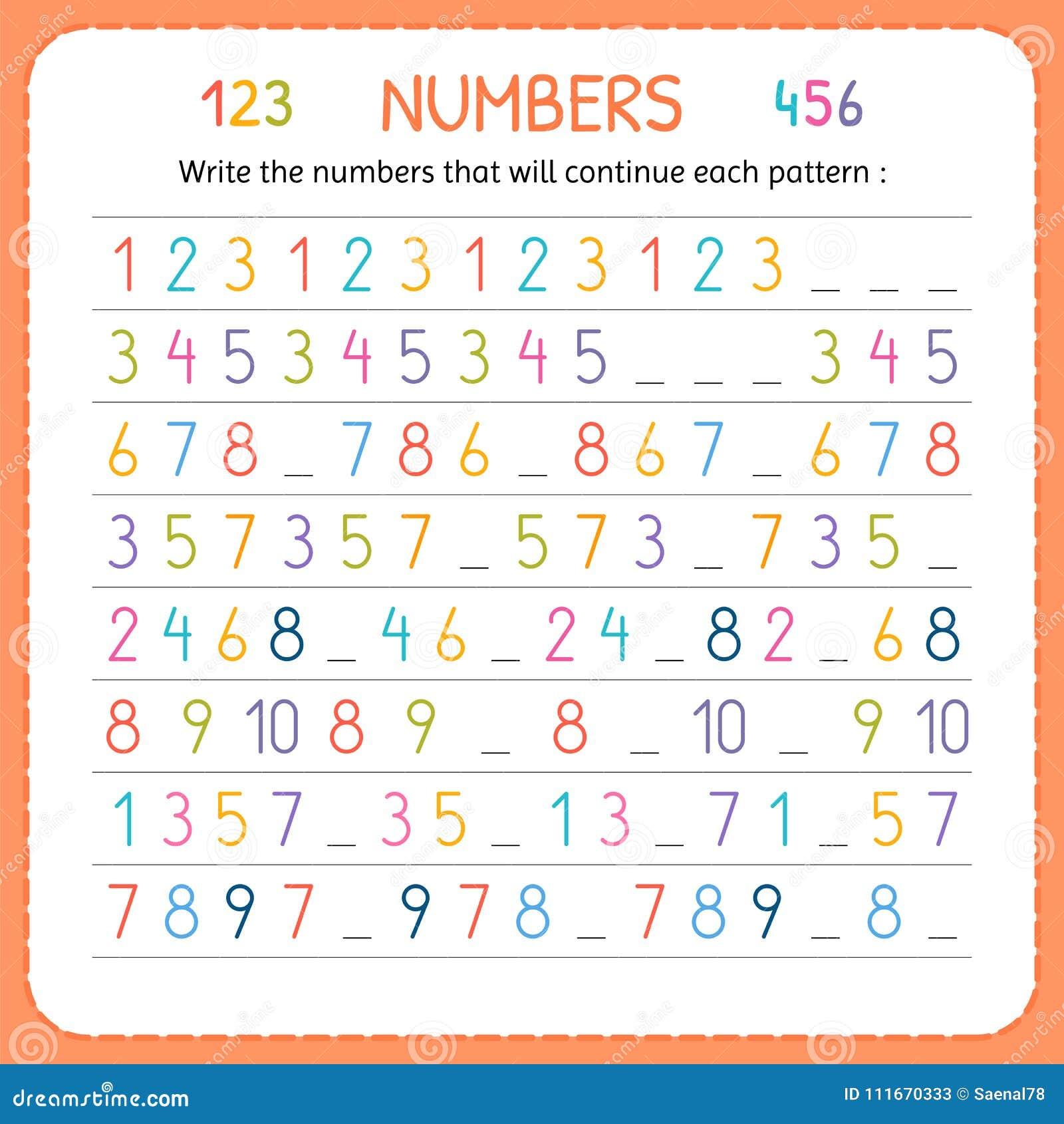 Schreiben Sie Die Zahlen, Die Jedes Muster Fortsetzen Zahlen Für ...