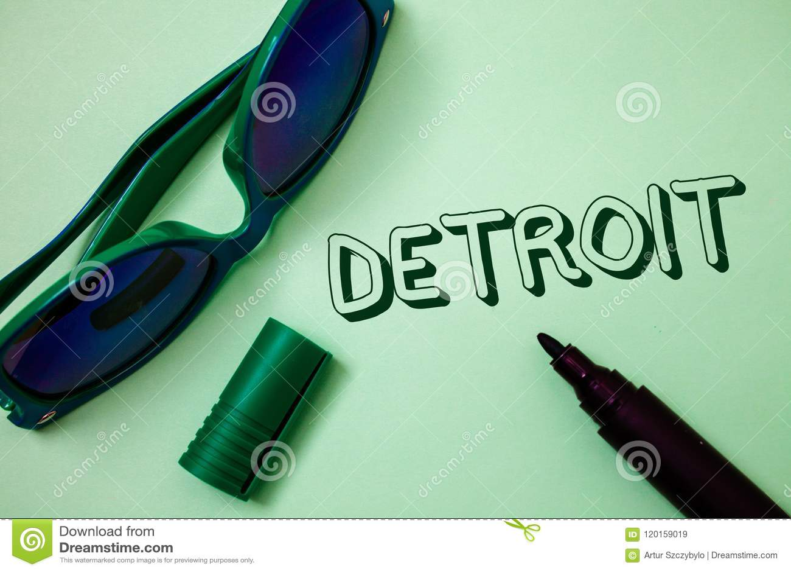 Schreibensanmerkung, die Detroit zeigt Geschäftsfoto Präsentationsstadt in der Hauptstadt der Vereinigten Staaten von Amerika von