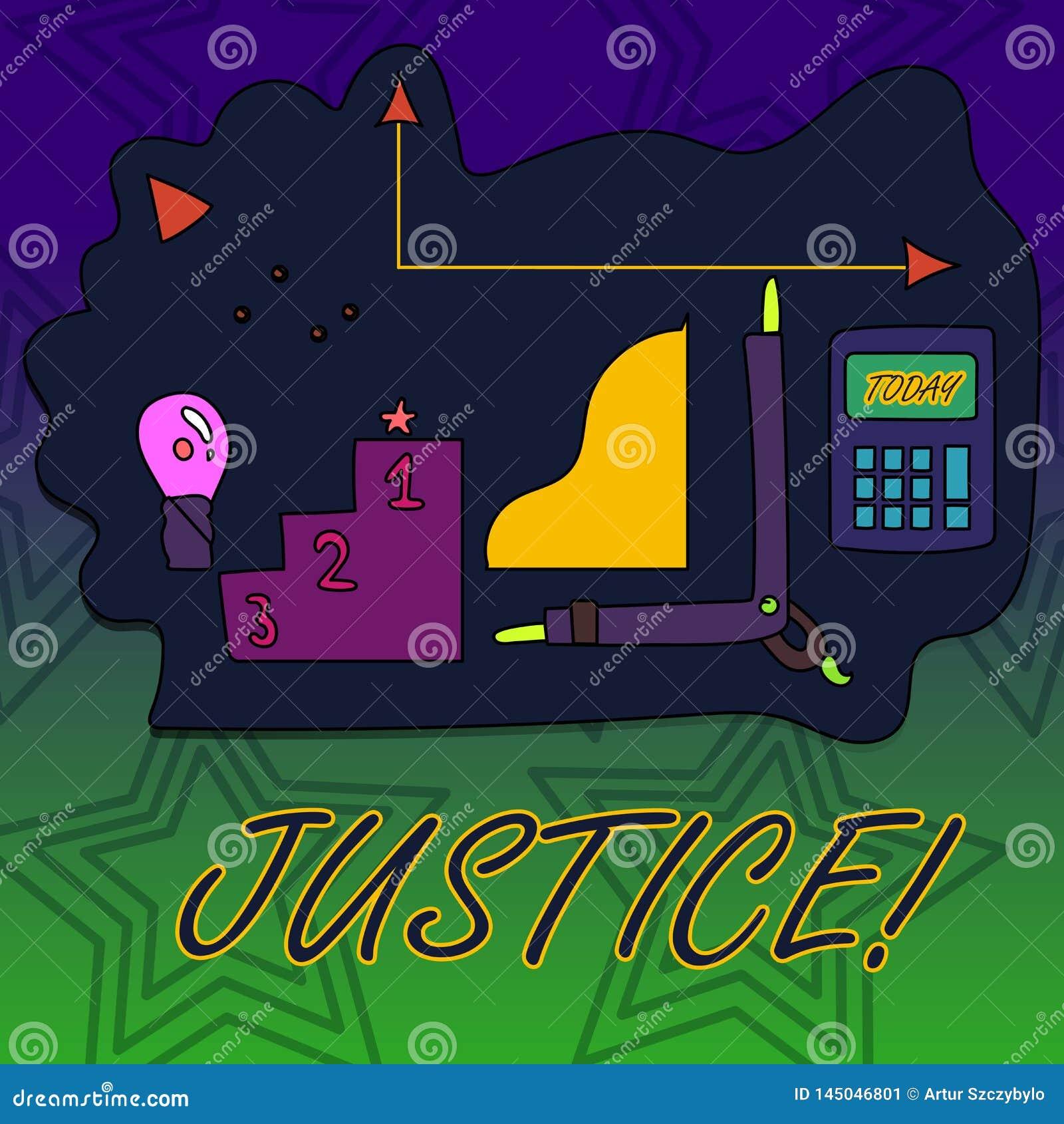 Schreibensanmerkung, die Gerechtigkeit zeigt Das Gesch?ftsfoto, das unparteiische Anpassung von kontroversen Anspr?chen oder von