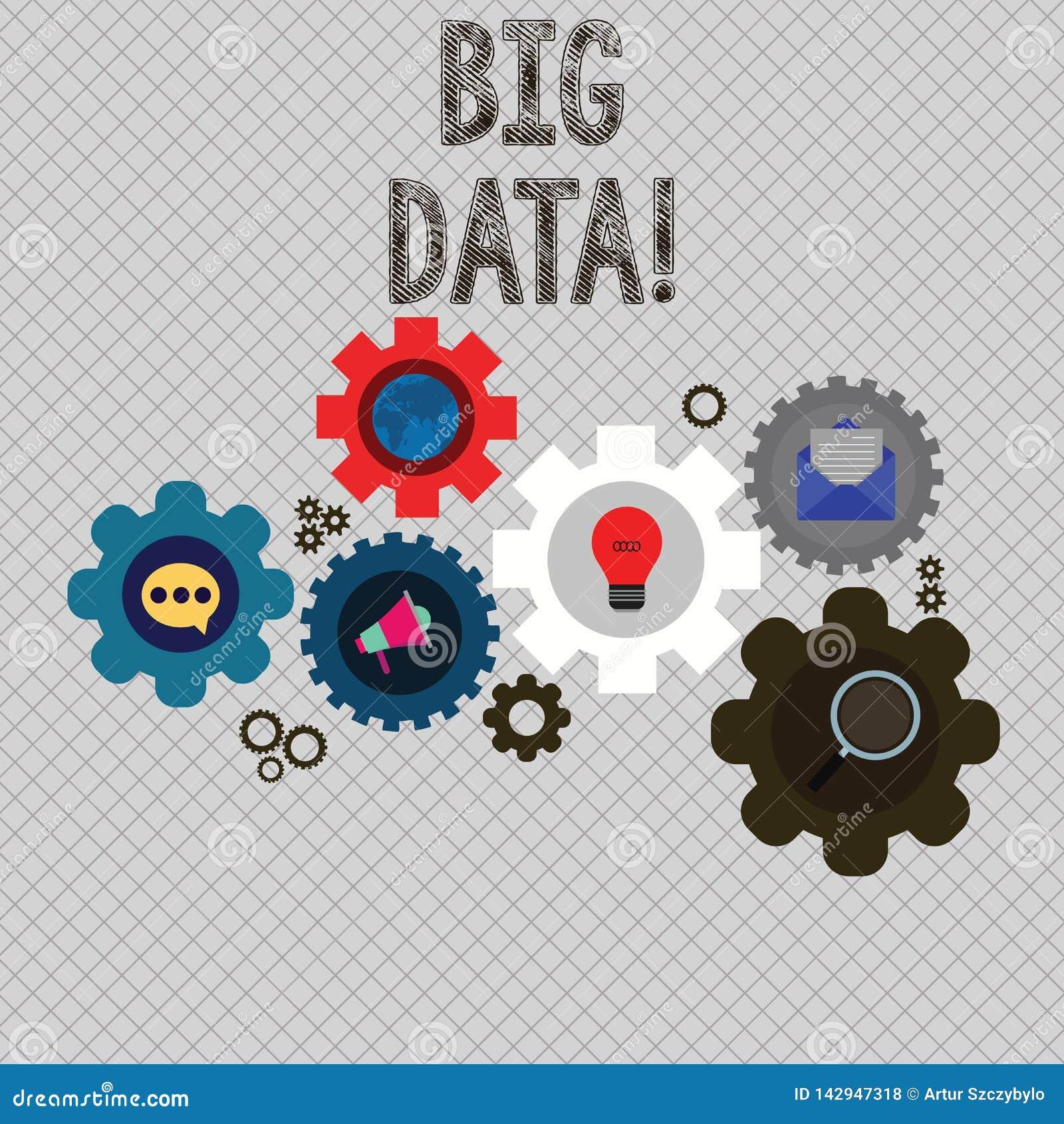 Schreibensanmerkung, die große Daten zeigt Geschäftsfoto, das extrem große Sätze zur Schau stellt, die möglicherweise analysiert