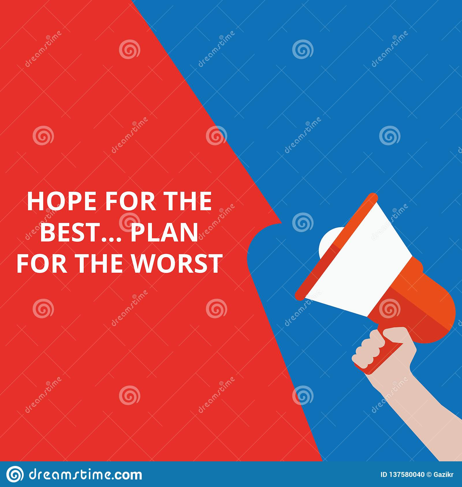 Schreibensanmerkung, die Hoffnung für das Beste zeigt
