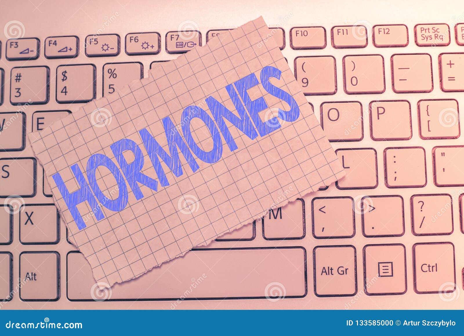 Schreibensanmerkung, die Hormone zeigt Das Geschäftsfoto, welches die regelnde Substanz produziert wurde im Organismus zur Schau