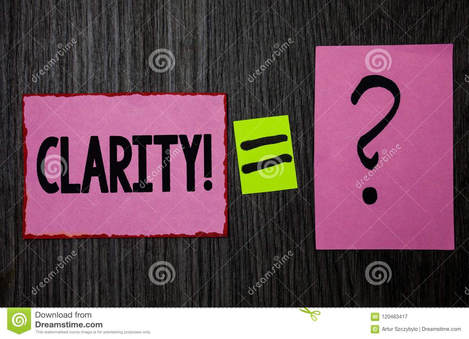 Schreibensanmerkung, die Klarheit zeigt Geschäftsfoto Präsentationssicherheits-Präzisions-Reinheits-Verständlichkeits-Transparenz