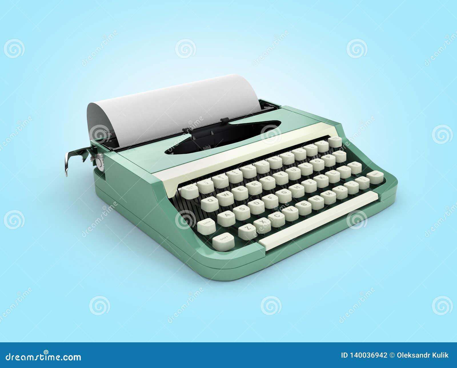 Schreibmaschine Mit Blatt Papier Perspektivenansicht über Blauen ...