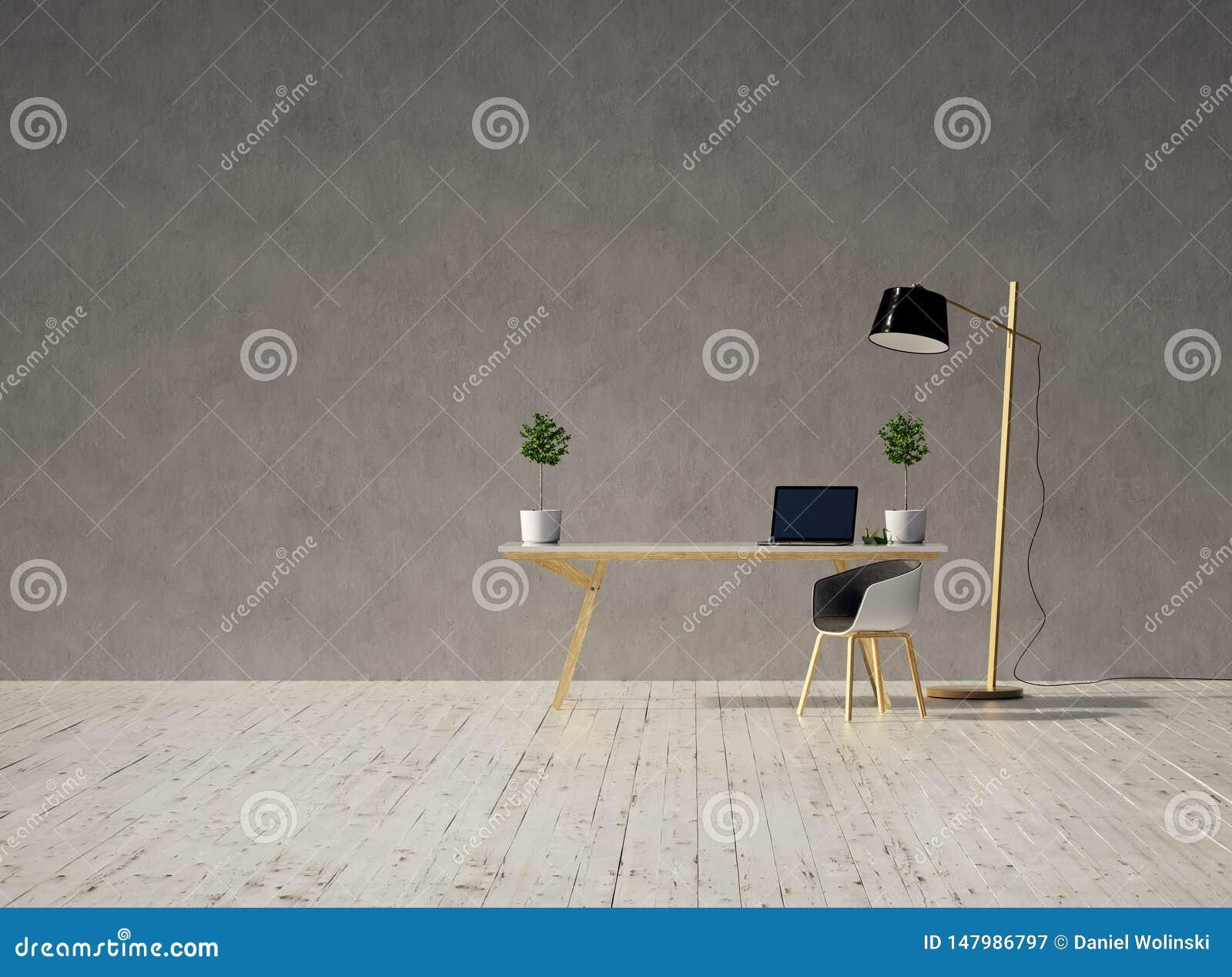 Schreibtisch mit einem Laptop und Stuhl auf einem leeren grauen weißen Bretterboden der Betonmauer und der Weinlese und einer Lam