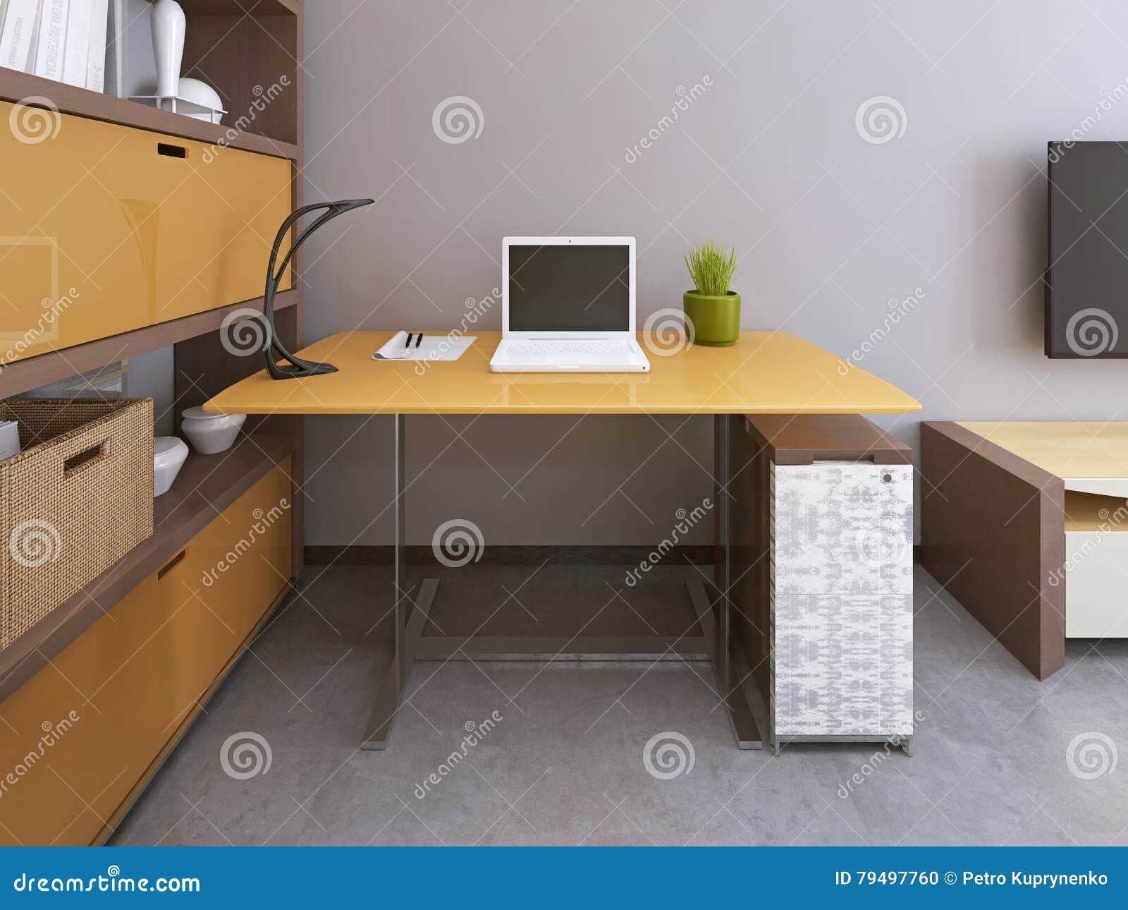 schreibtisch und stuhl im modernen wohnzimmer stock. Black Bedroom Furniture Sets. Home Design Ideas