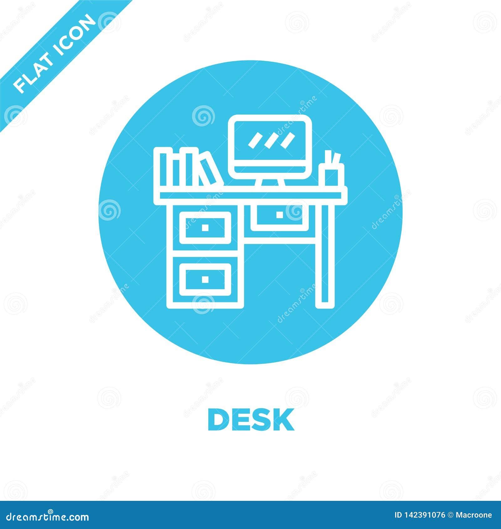Schreibtischikonenvektor von der Möbelsammlung Dünne Linie Schreibtischentwurfsikonen-Vektorillustration Lineares Symbol für Gebr