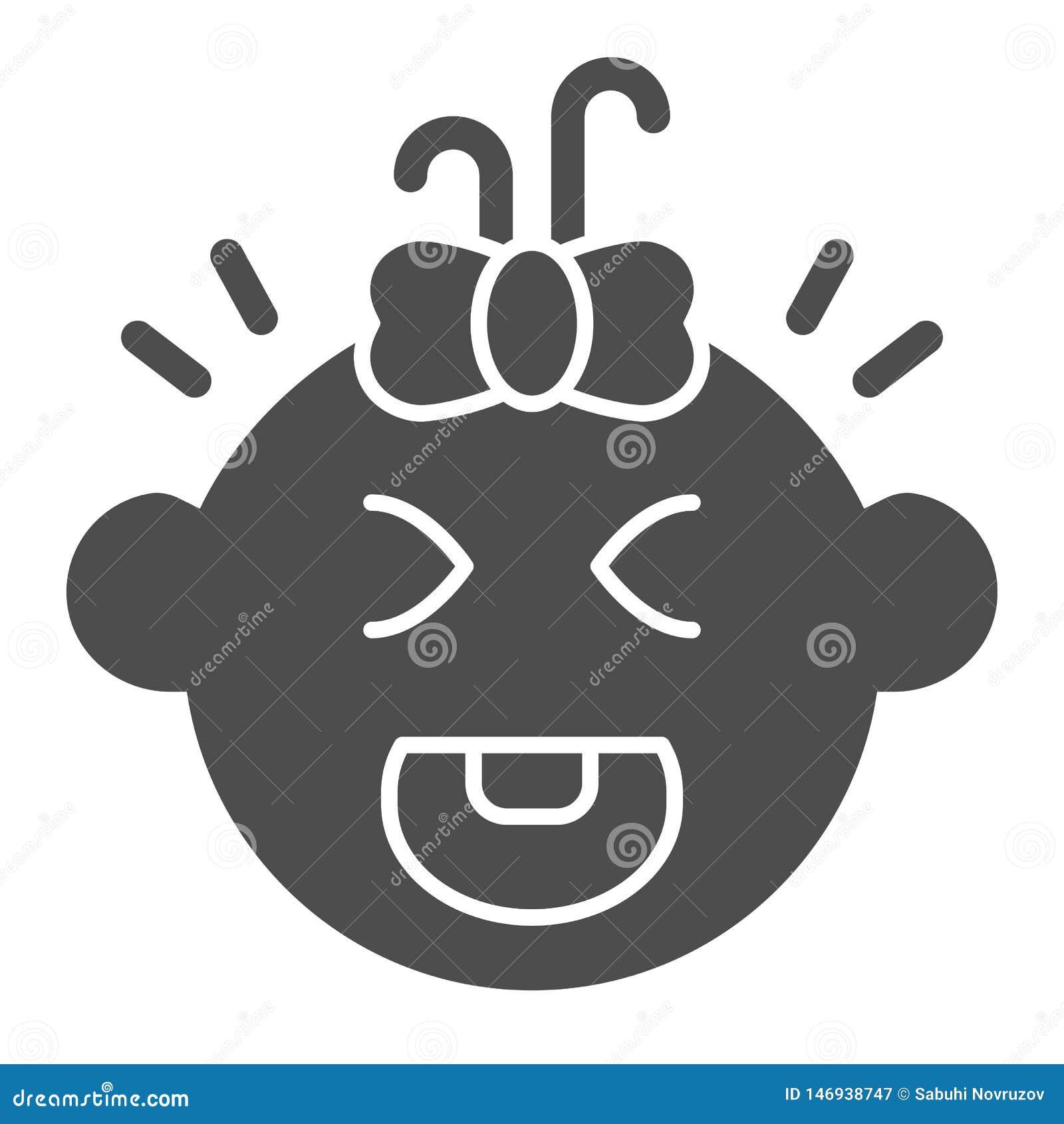Schreiende feste Ikone des Babys Kinderschrei-Vektorillustration lokalisiert auf Wei? Kindergesicht Glyph-Artentwurf, bestimmt fü