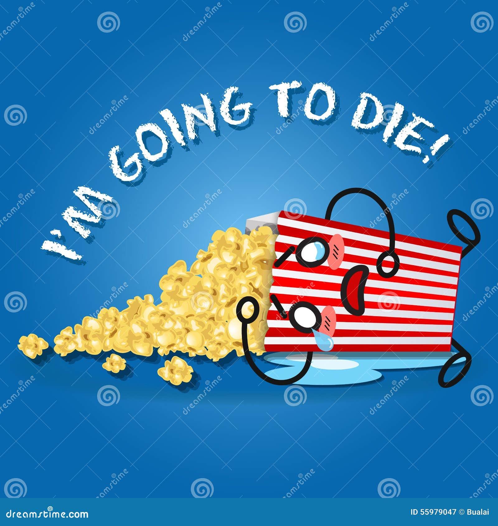 Schreiende Karikatur auf dem Popcornkasten, der Popcorn verschüttet