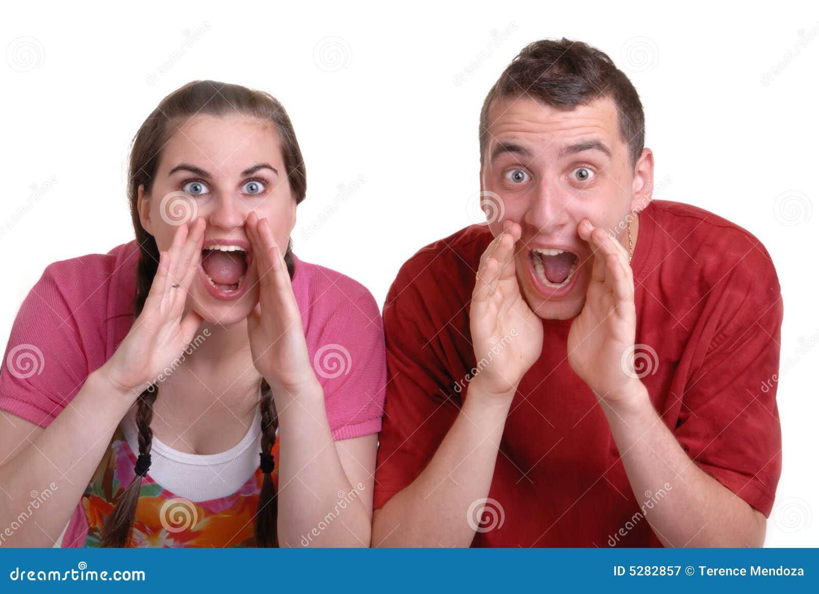 Schreiende Paare eine Ansage