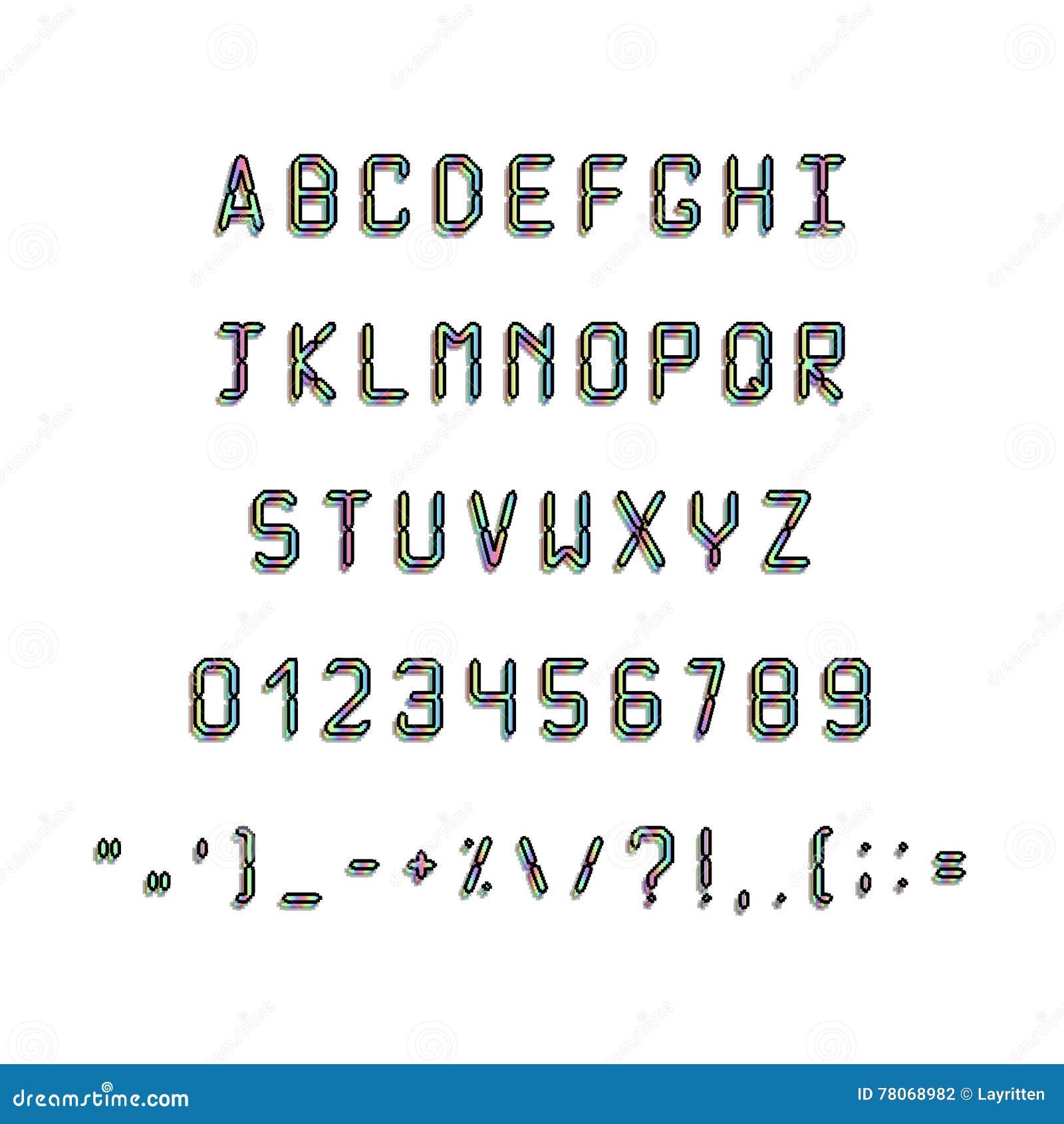 Schriftart Güsse 80s, 90s Mit Einem Hologramm Einfache Buchstaben ...