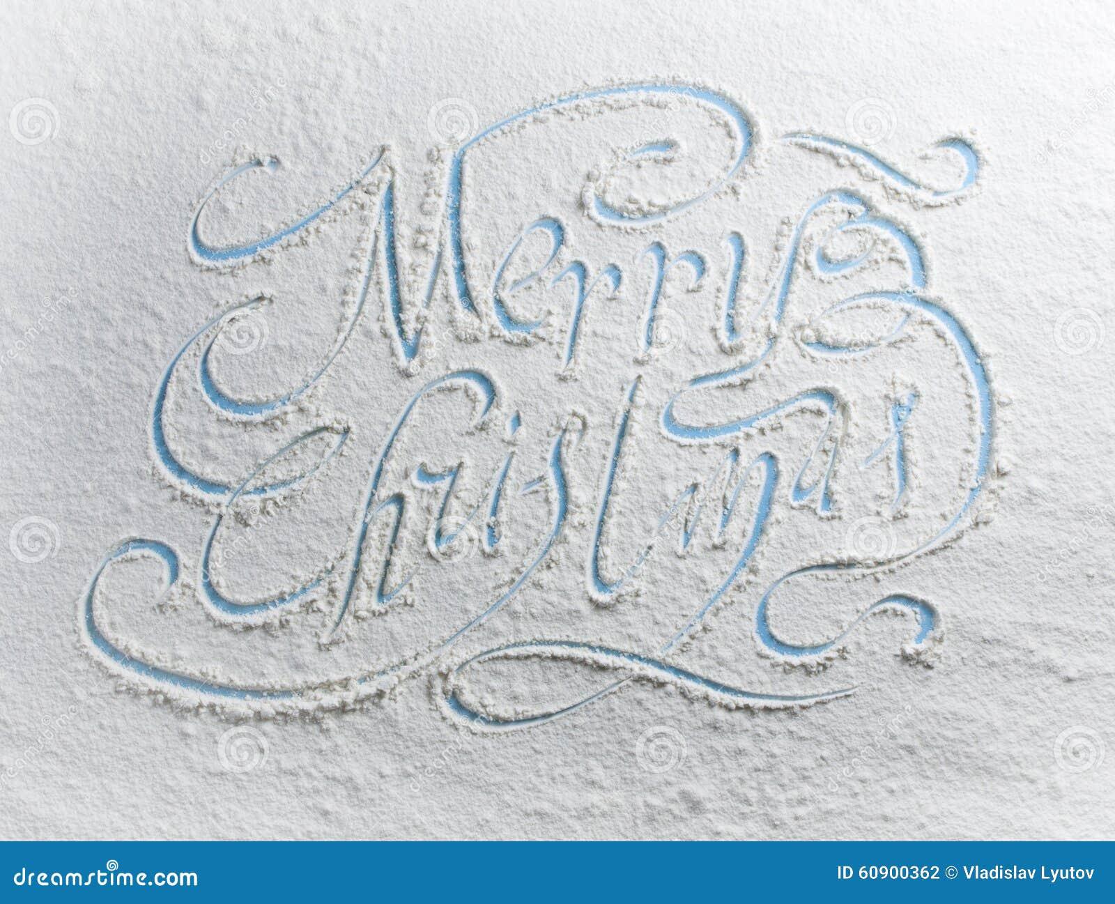 Weihnachten Wörter.Schriftliche Wörter Frohe Weihnachten Auf Einem Schnee Stockfoto