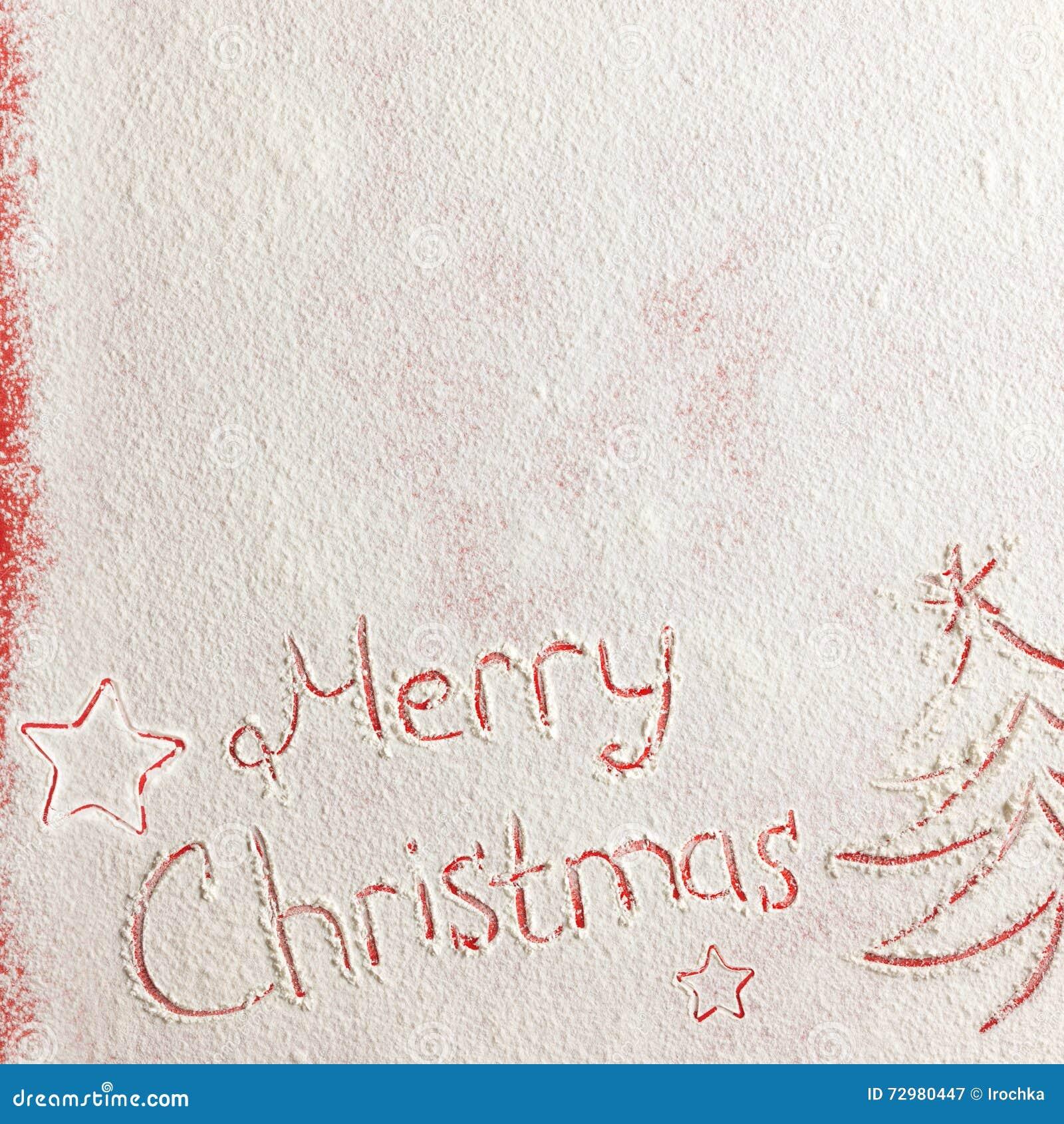 Schriftliche Wörter Frohe Weihnachten Auf Einem Schneefeld, Konzept ...