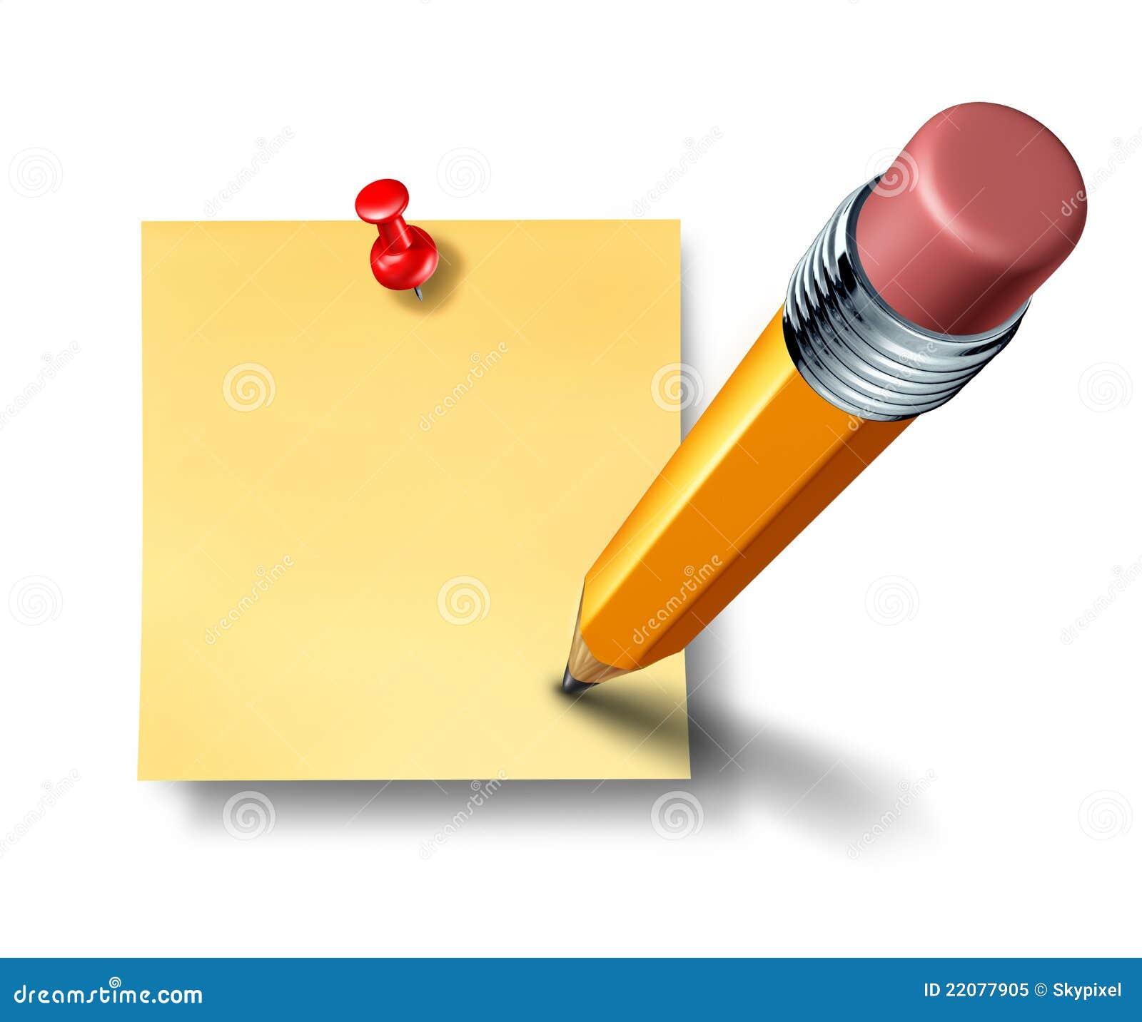Schrijven een lege bureaunota met een potlood