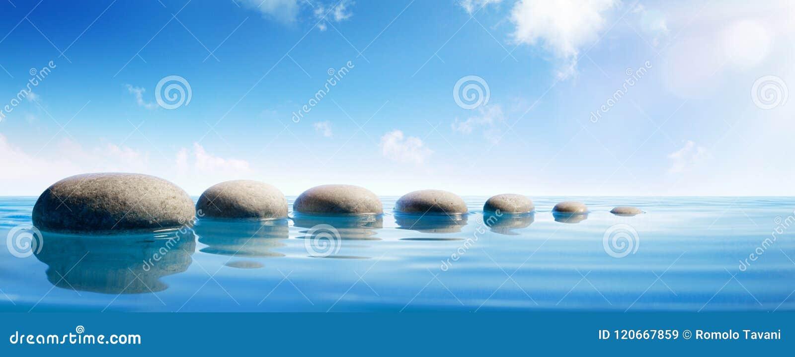 Schritt Steine Im Blauen Wasser Stockbild Bild Von Steine