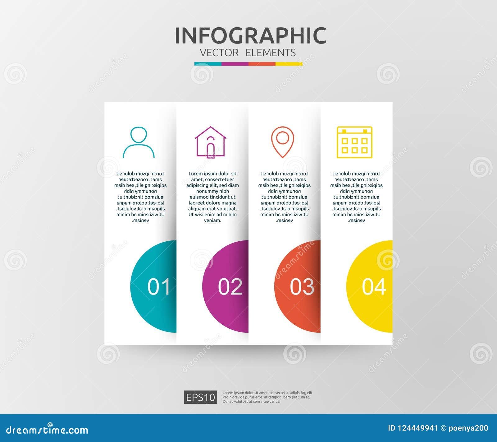 4 Schritte infographic Zeitachsedesignschablone mit Aufkleber des Papiers 3D Geschäftskonzept mit Wahlen Für Inhalt Diagramm, Flu