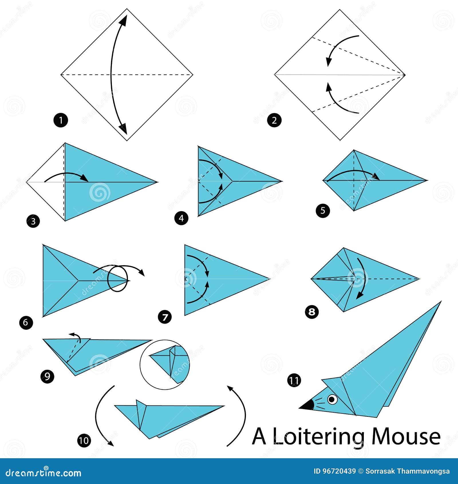 Schrittweise Anweisungen, Wie Man Origami A Bummelnde Maus ... on