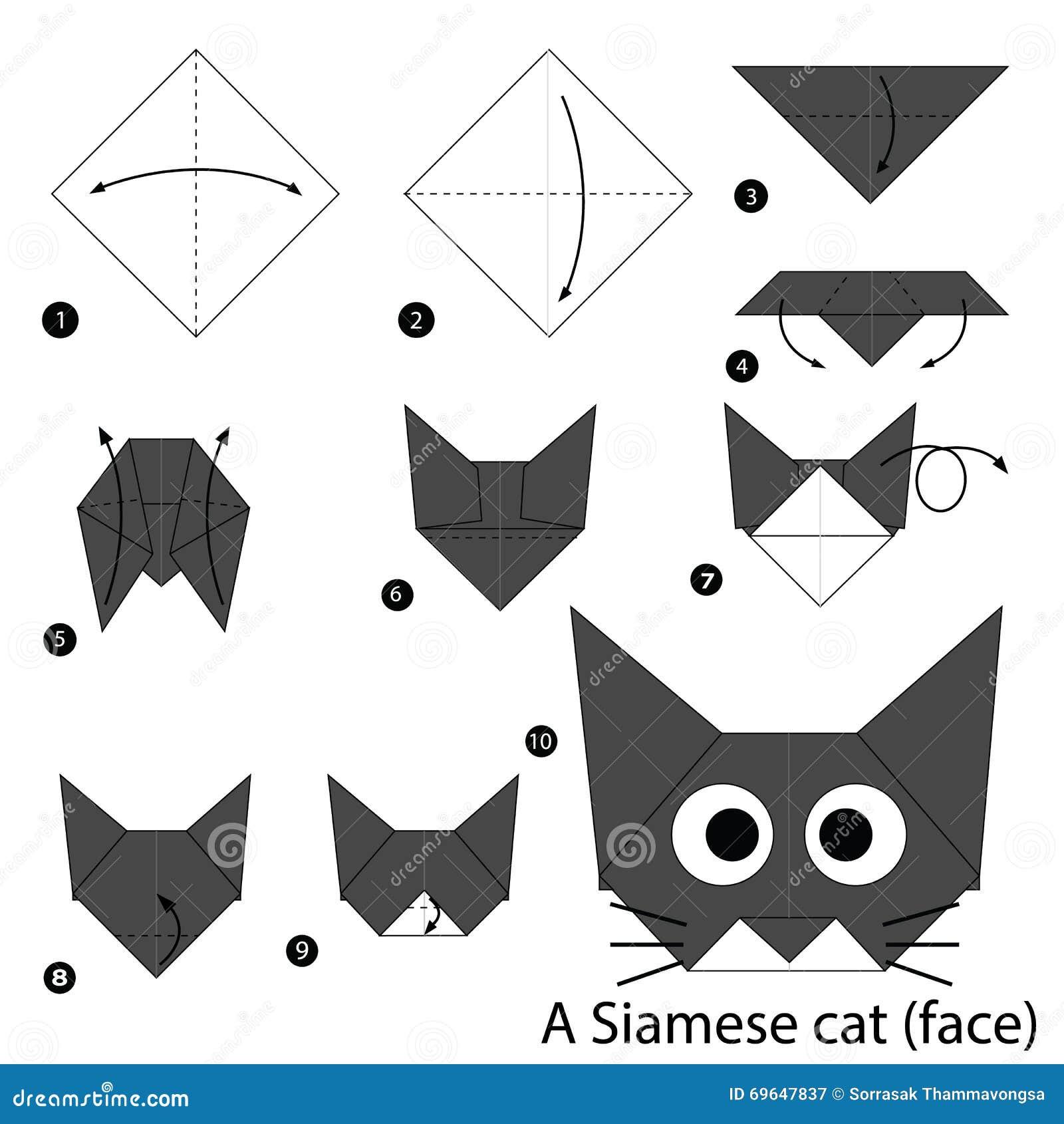 schrittweise anweisungen wie man origami eine katze macht. Black Bedroom Furniture Sets. Home Design Ideas