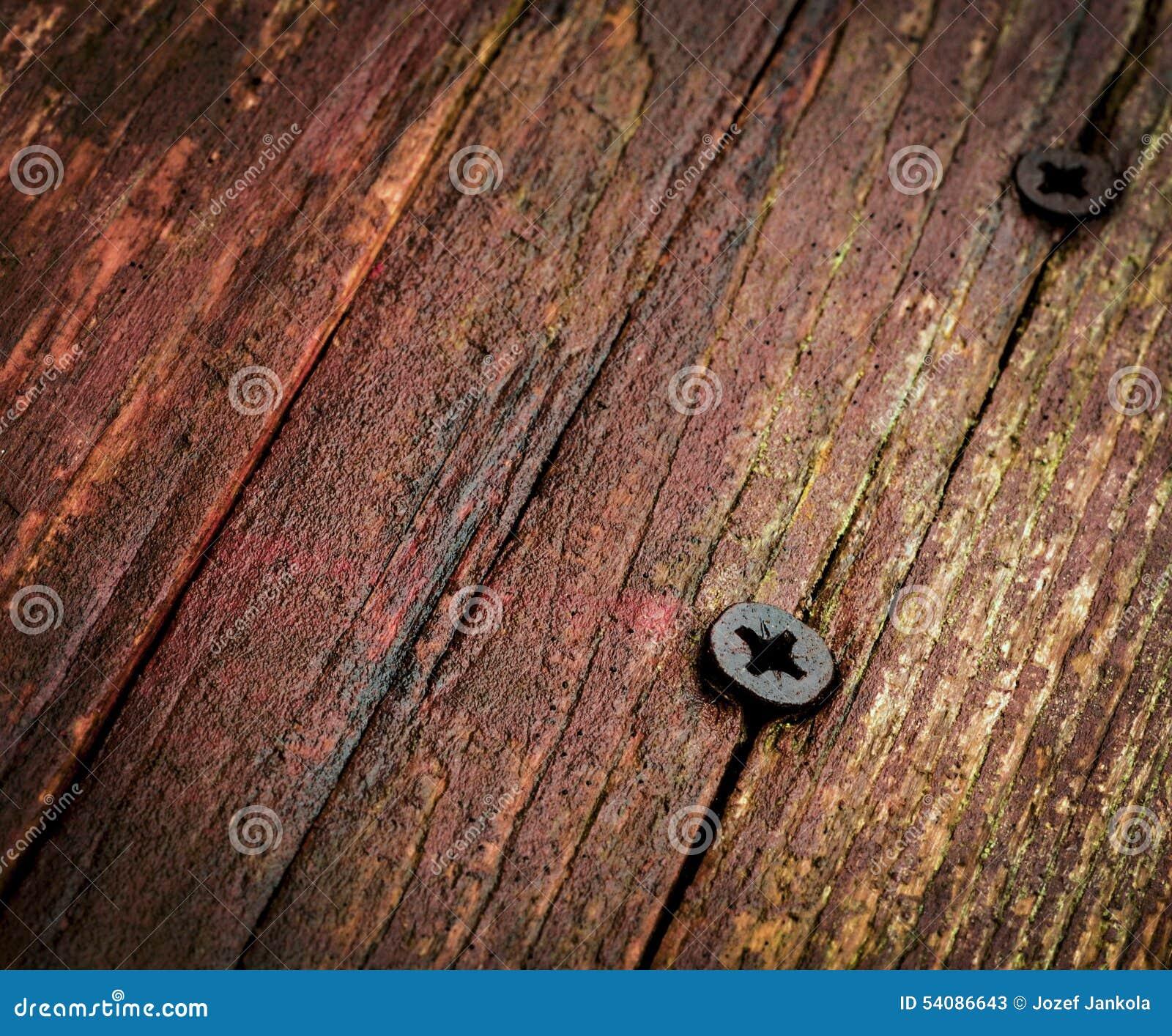 Schroef twee in oud hout