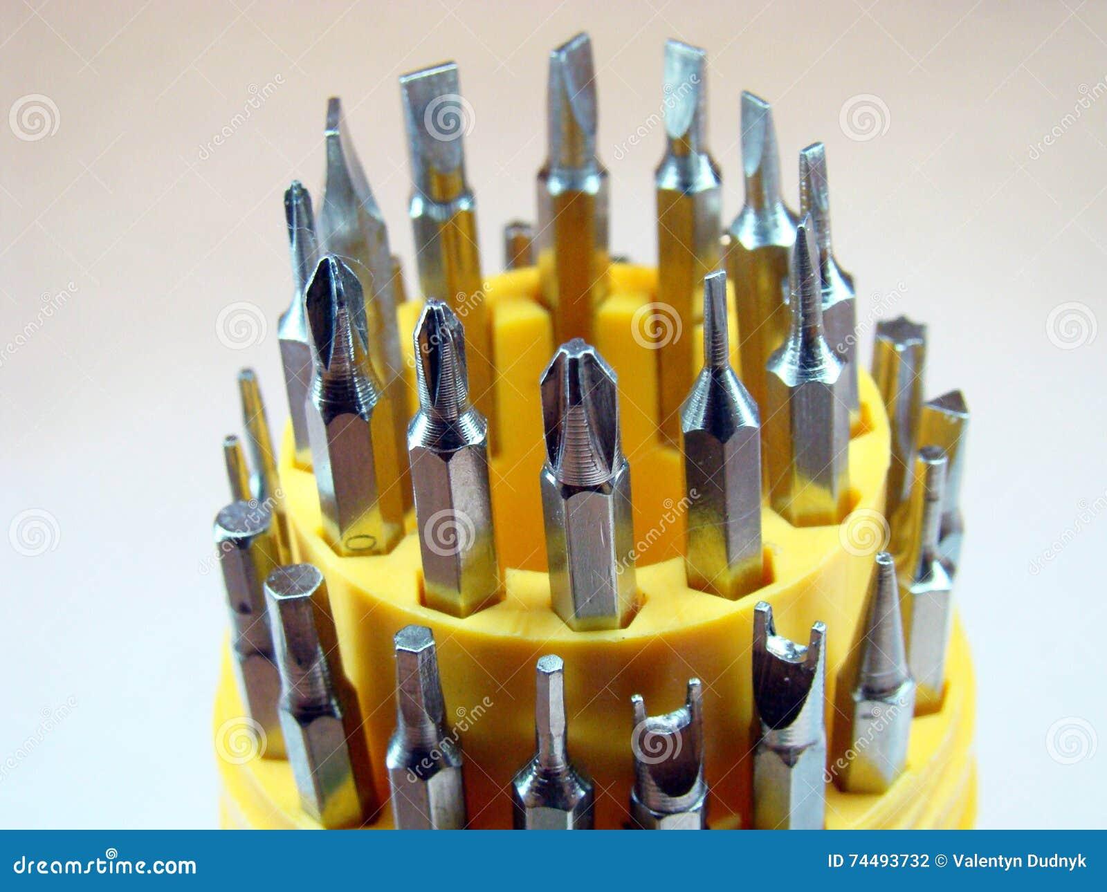 Schroevedraaiers geplaatst de boutenreparatie van de technicus