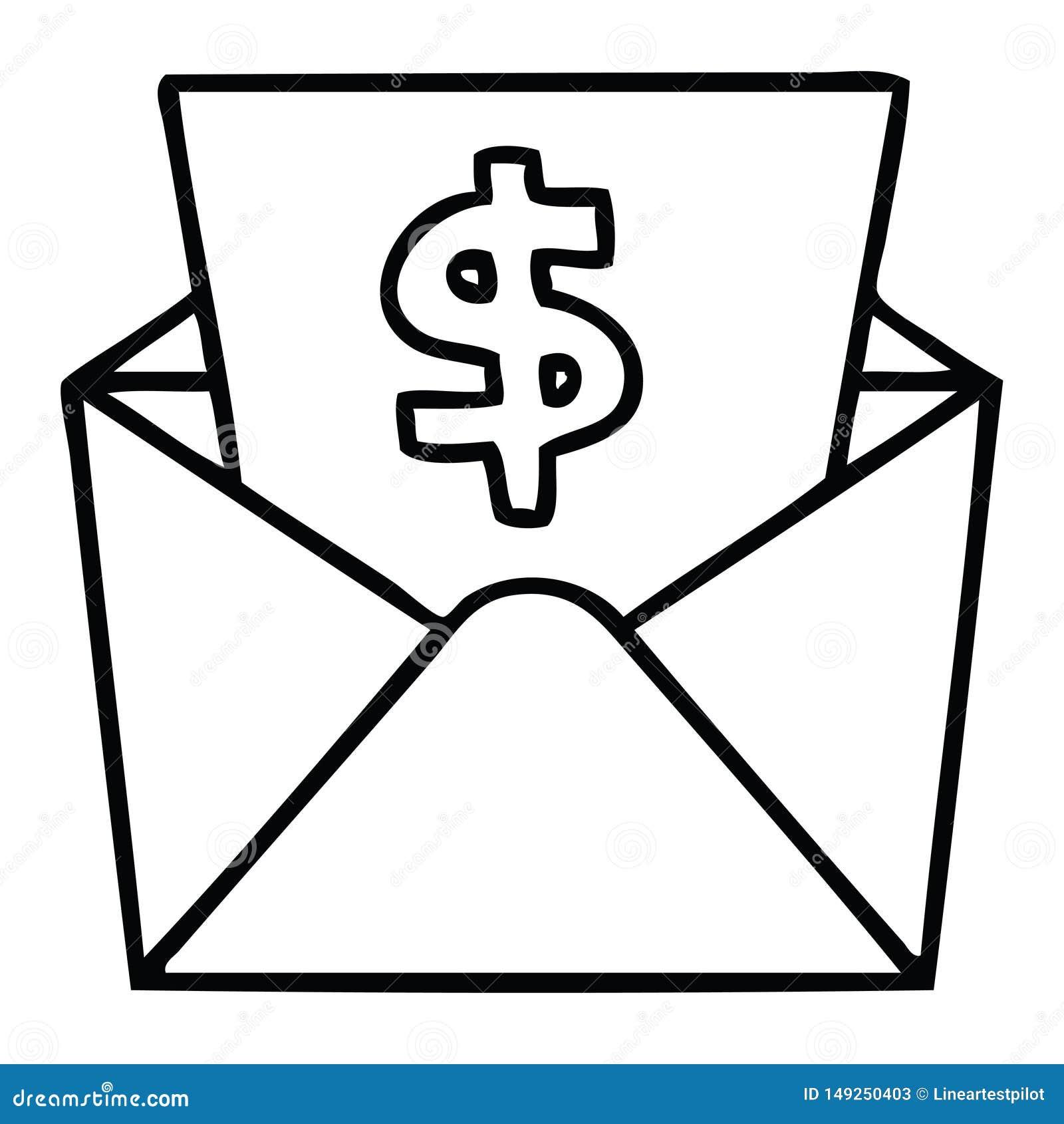 Schrulliges Federzeichnungskarikaturdollar im Umschlag