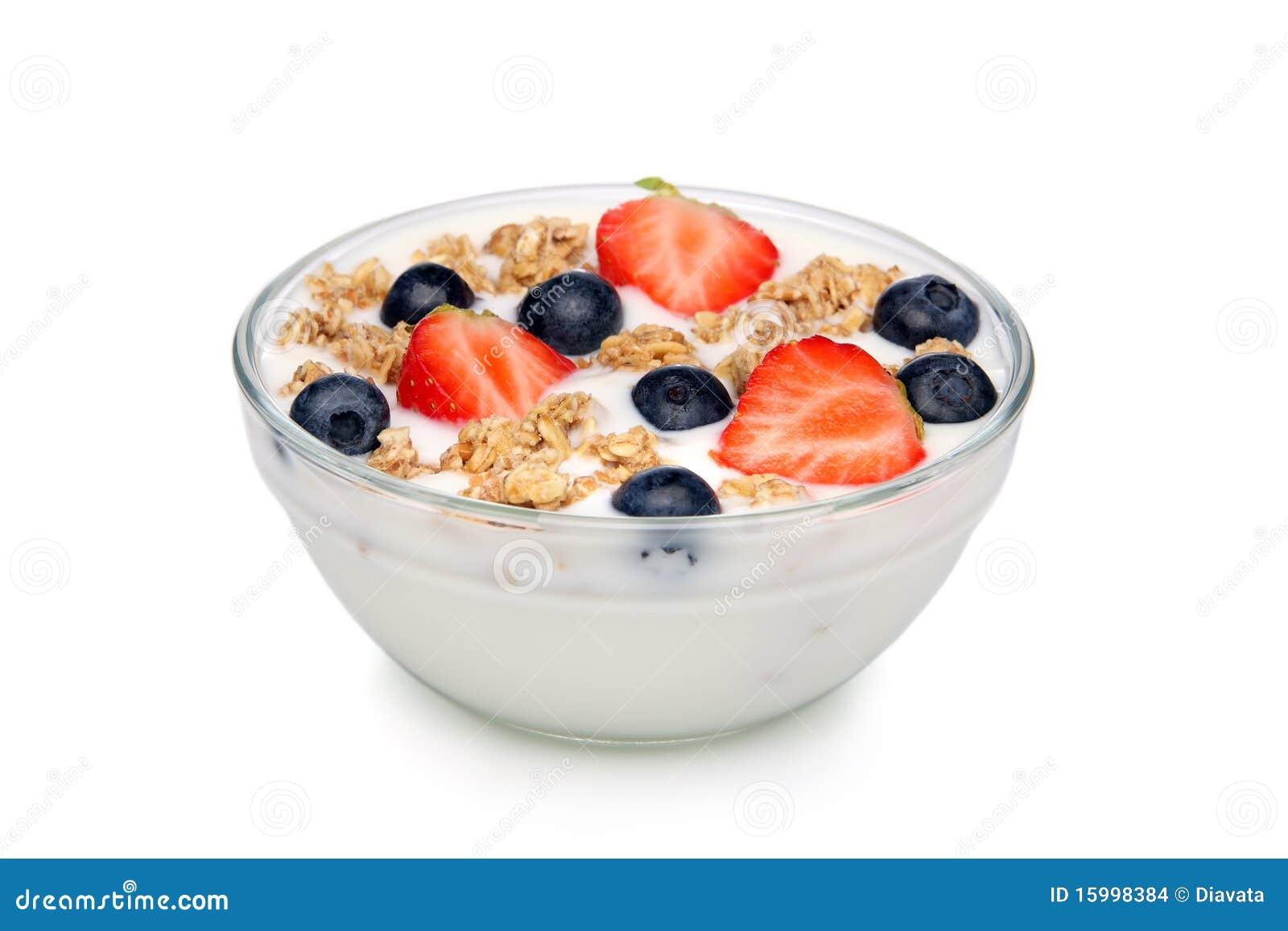 sch ssel joghurt mit muesli und frucht stockbilder bild 15998384. Black Bedroom Furniture Sets. Home Design Ideas